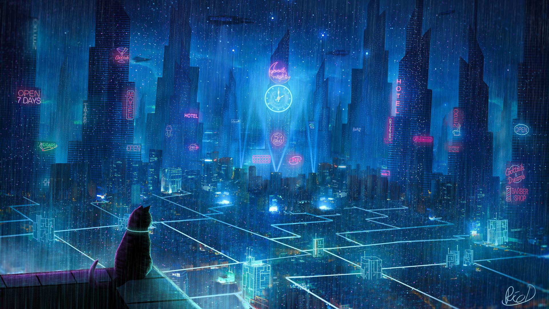 1920x1080 Cat Rain Dream Cyberpunk City 4k Laptop Full HD ...