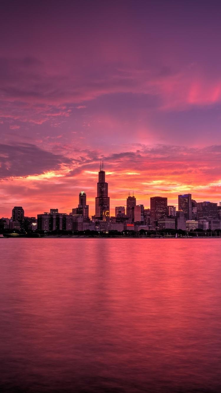 750x1334 Chicago Buildings Evening Lights Skycrapper Sunrise