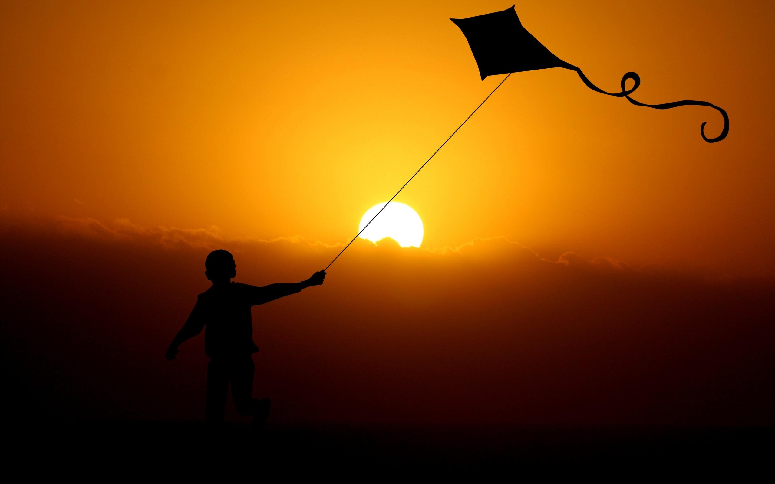 2560x1600 Children Flying Dragon Kite 4k 2560x1600