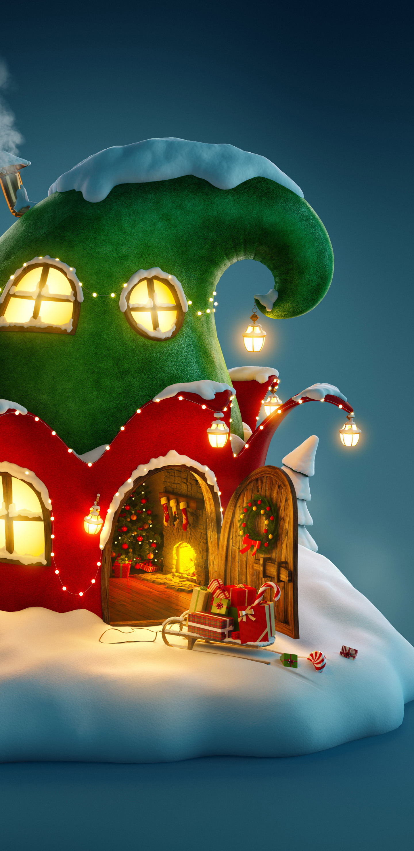 1440x2960 Christmas Fairy House 4k Samsung Galaxy Note 9 8 S9 S8