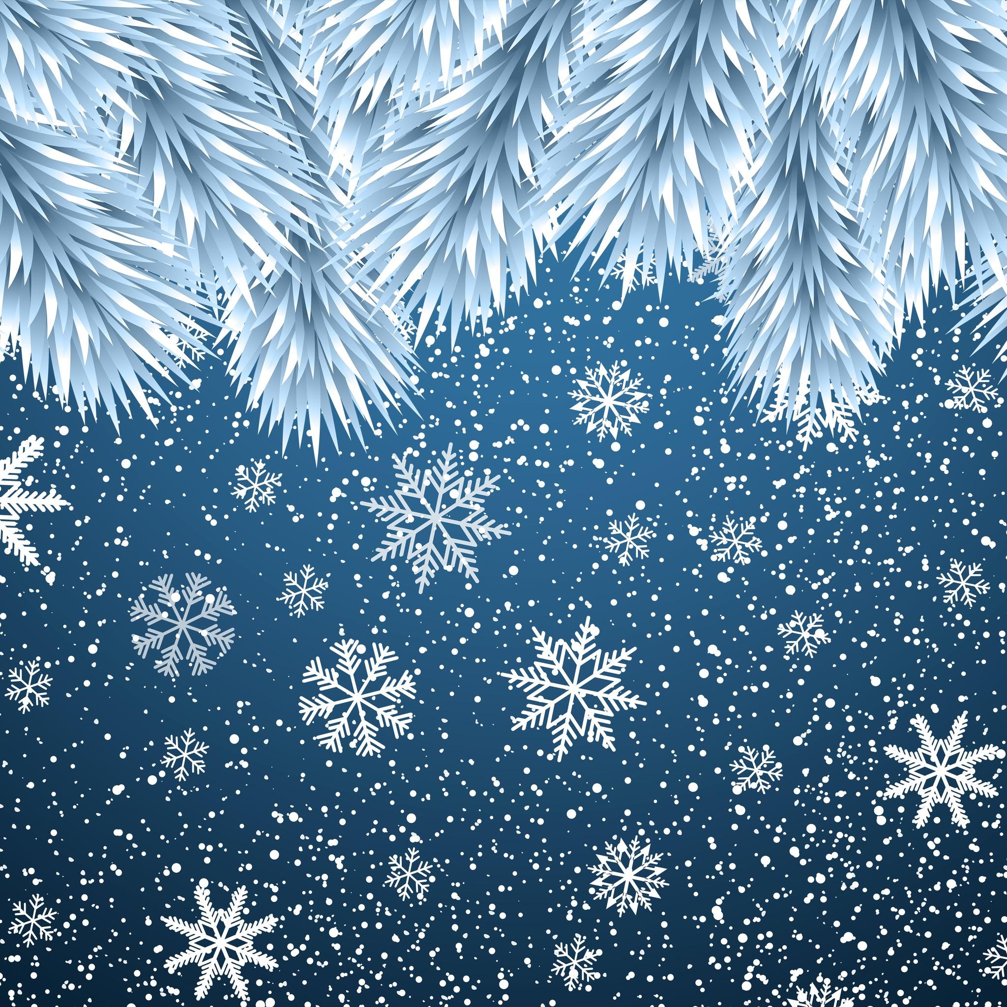 2048x2048 Christmas Snowflakes Background 8k Ipad Air Hd 4k
