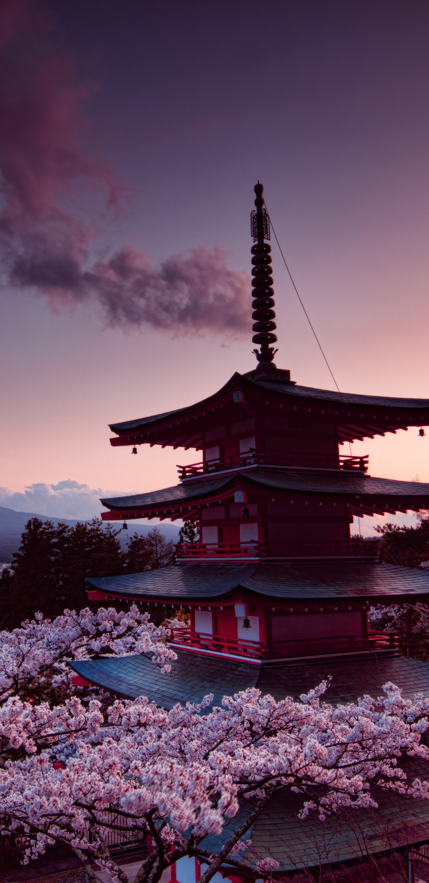1440x2960 churei tower mount fuji in japan 8k samsung - Samsung s9 wallpaper 4k ...
