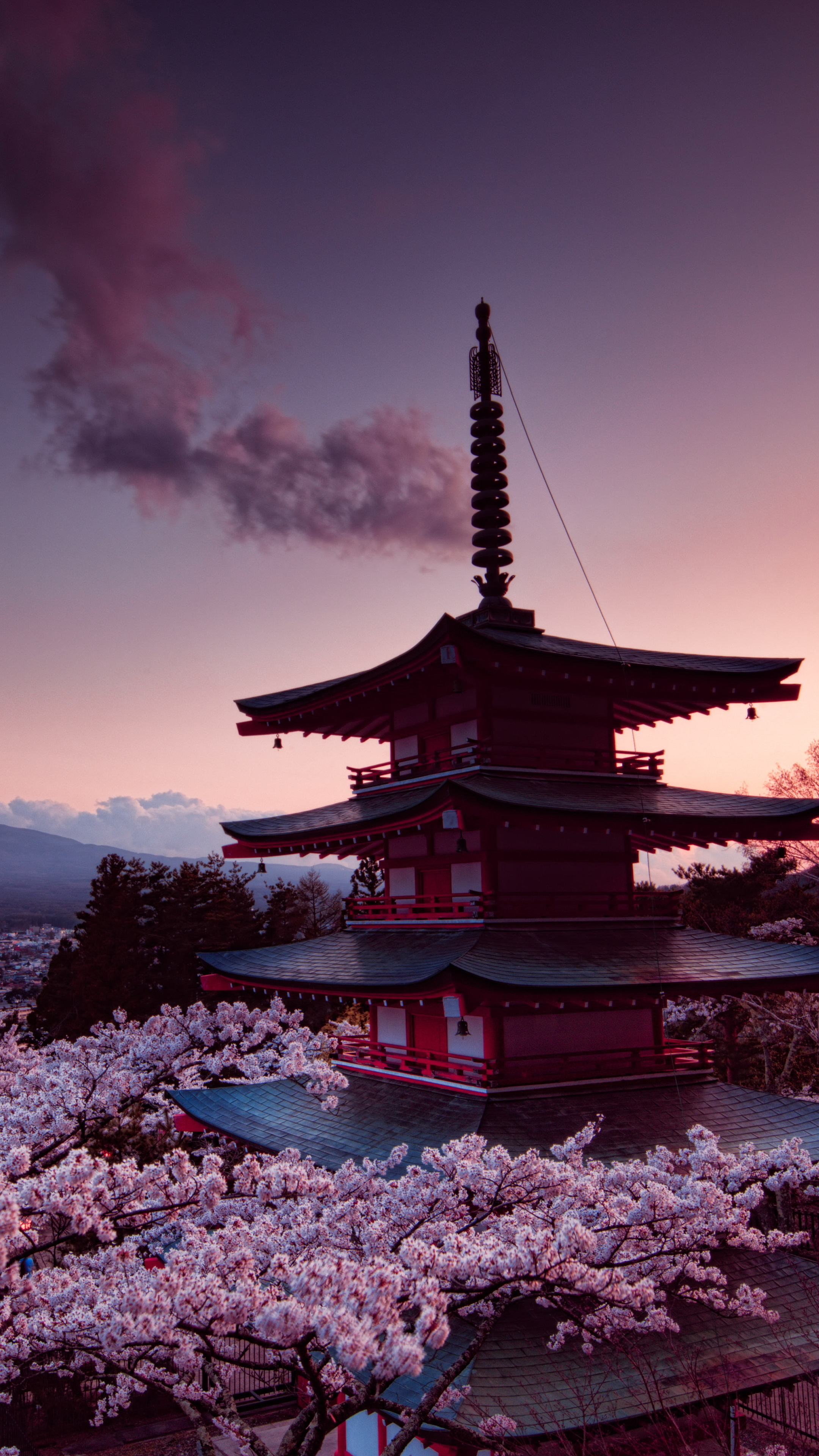2160x3840 churei tower mount fuji in japan 8k sony xperia - 2160x3840 wallpaper ...