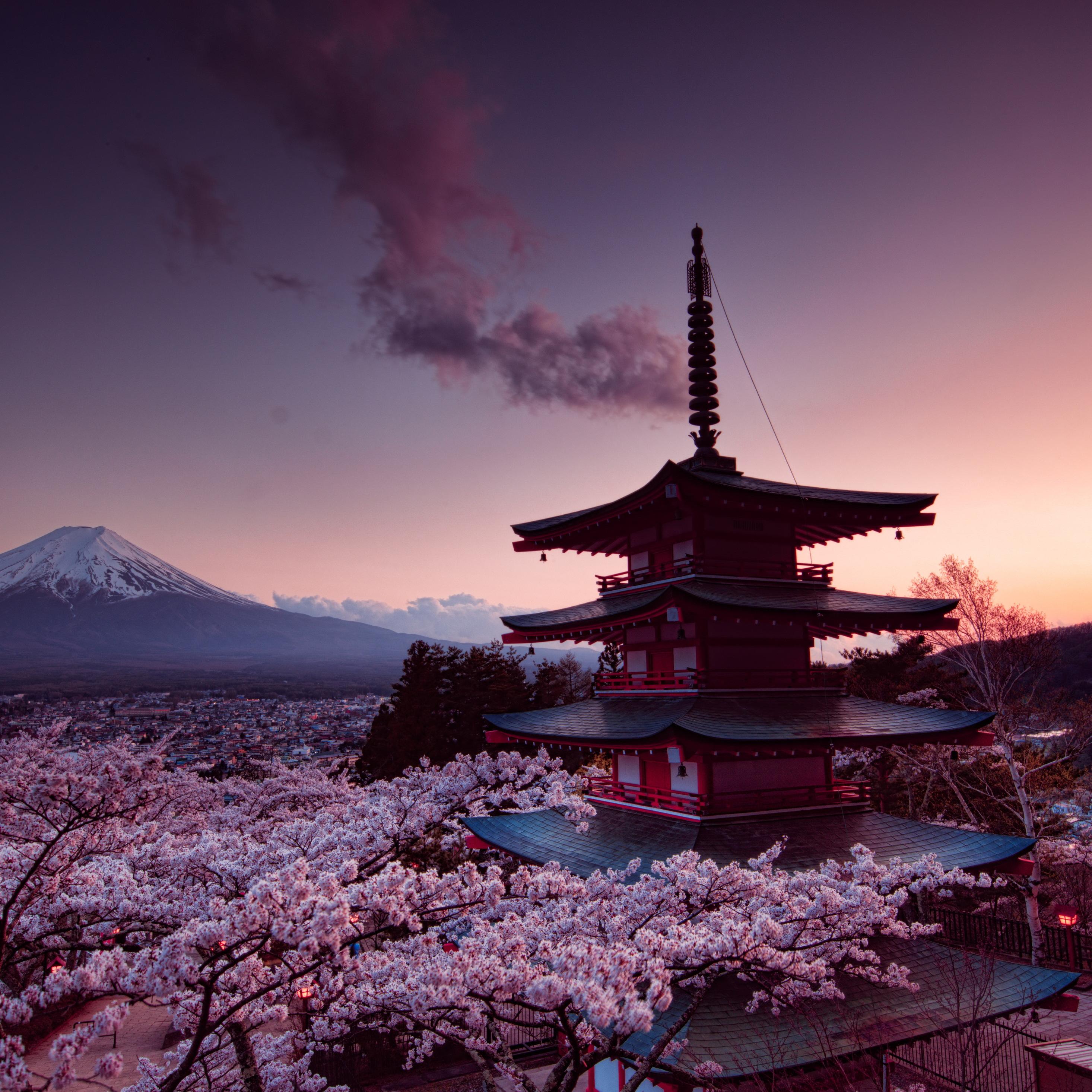 Mount Hd Wallpaper: 2932x2932 Churei Tower Mount Fuji In Japan 8k Ipad Pro