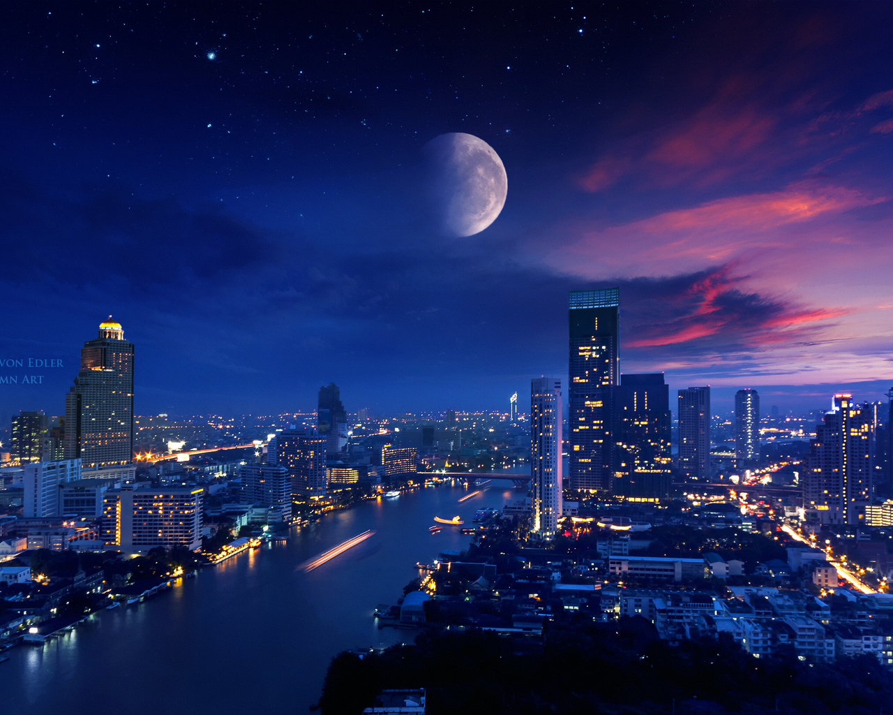 1280x1024 City Lights Moon Vibrant 4k 1280x1024 Resolution ...