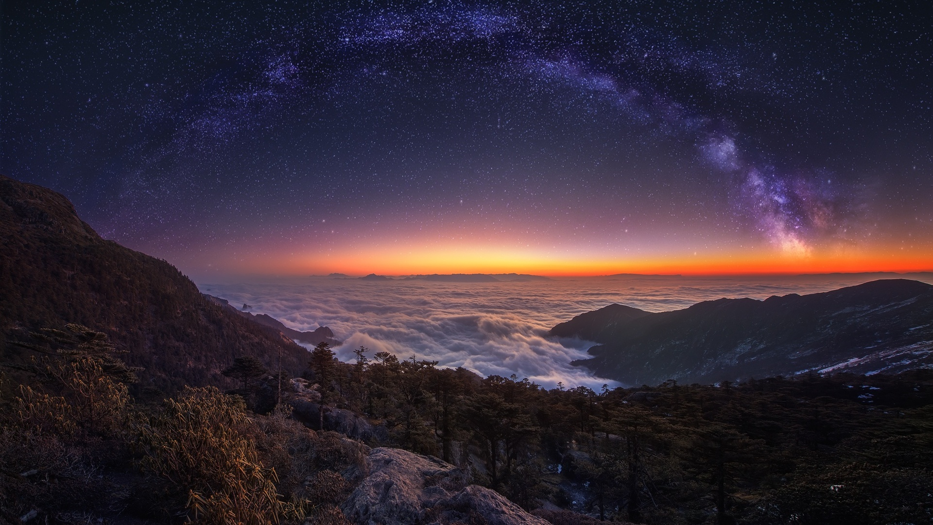 1920x1080 Cloud Landscape Milky Way Nature Night Panorama
