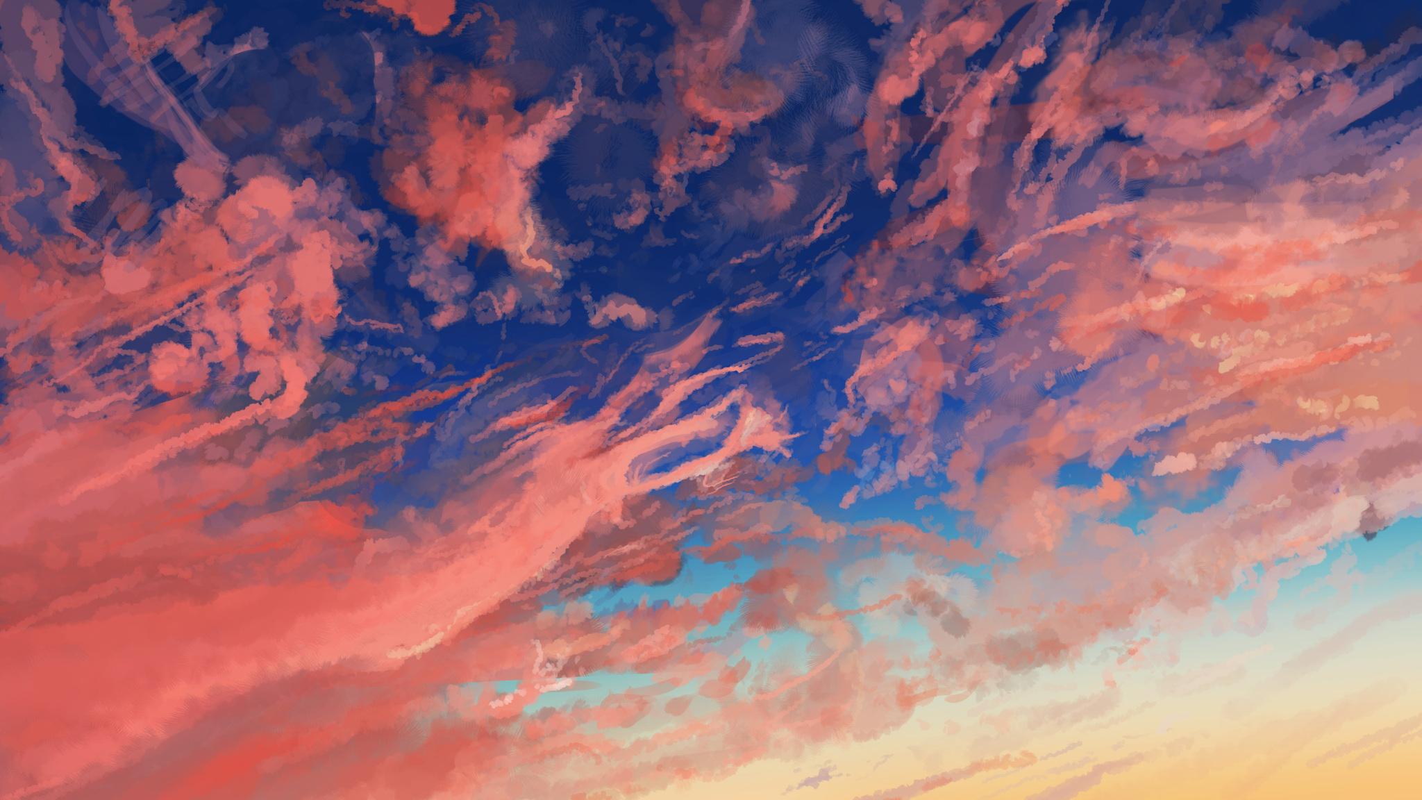2048x1152 Cloud Sky Anime 2048x1152 Resolution Hd 4k