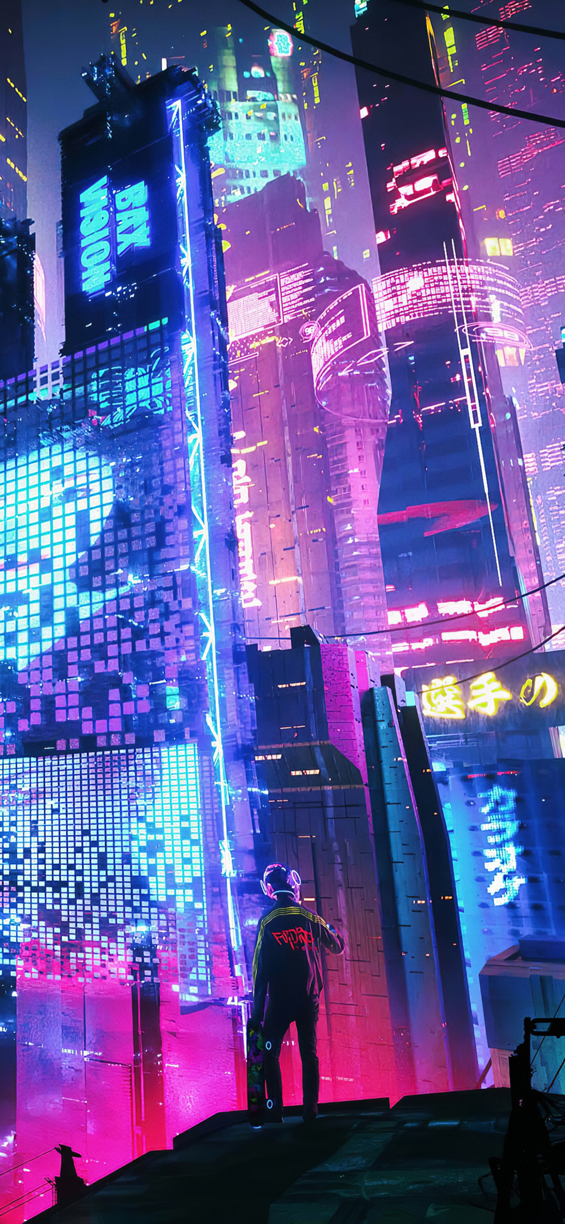 1125x2436 Colorful Neon City 4k Iphone