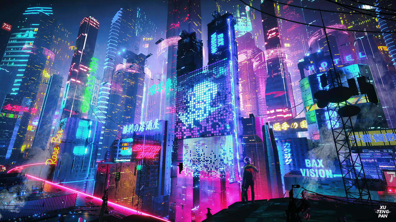 1366x768 Colorful Neon City 4k 1366x768 Resolution HD 4k ...
