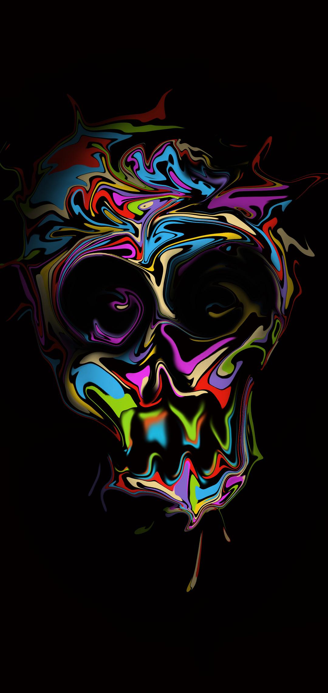 1080x2280 Colorful Skull Dark Art 4k One Plus 6,Huawei p20 ...