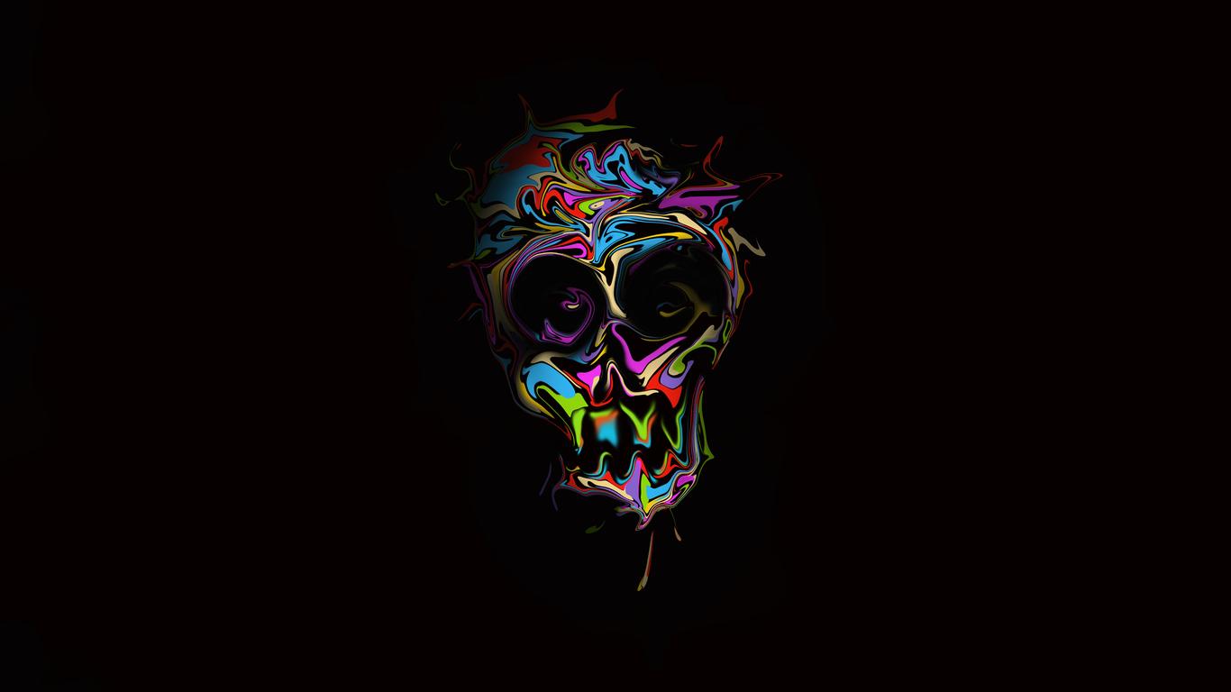 1366x768 Colorful Skull Dark Art 4k 1366x768 Resolution Hd
