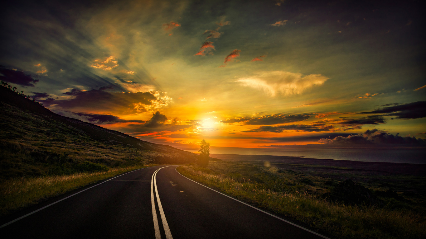 1366x768 cool sunset road view 8k 1366x768 resolution hd 4k