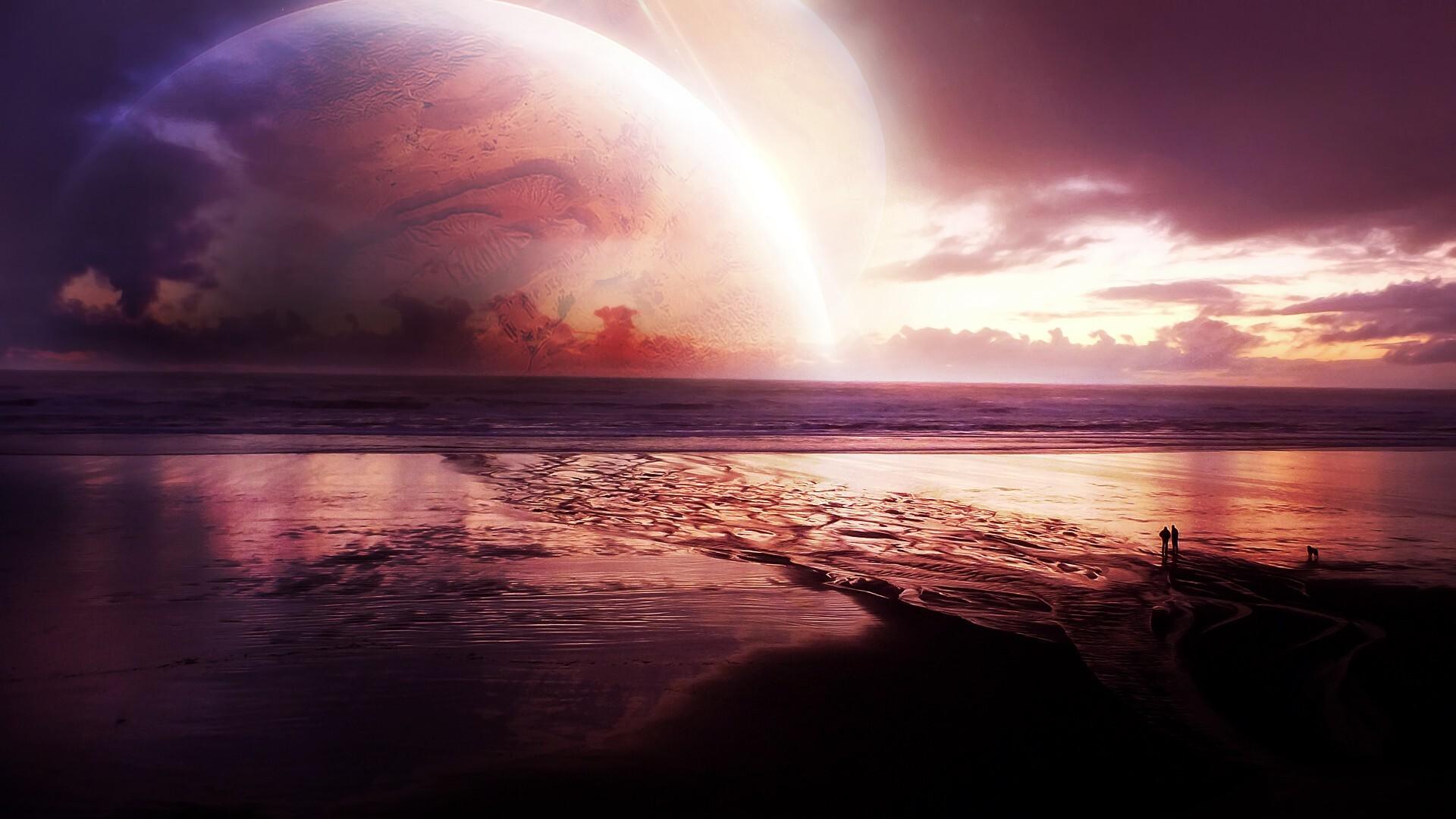 1920x1080 cosmos sunset sea laptop full hd 1080p hd 4k wallpapers
