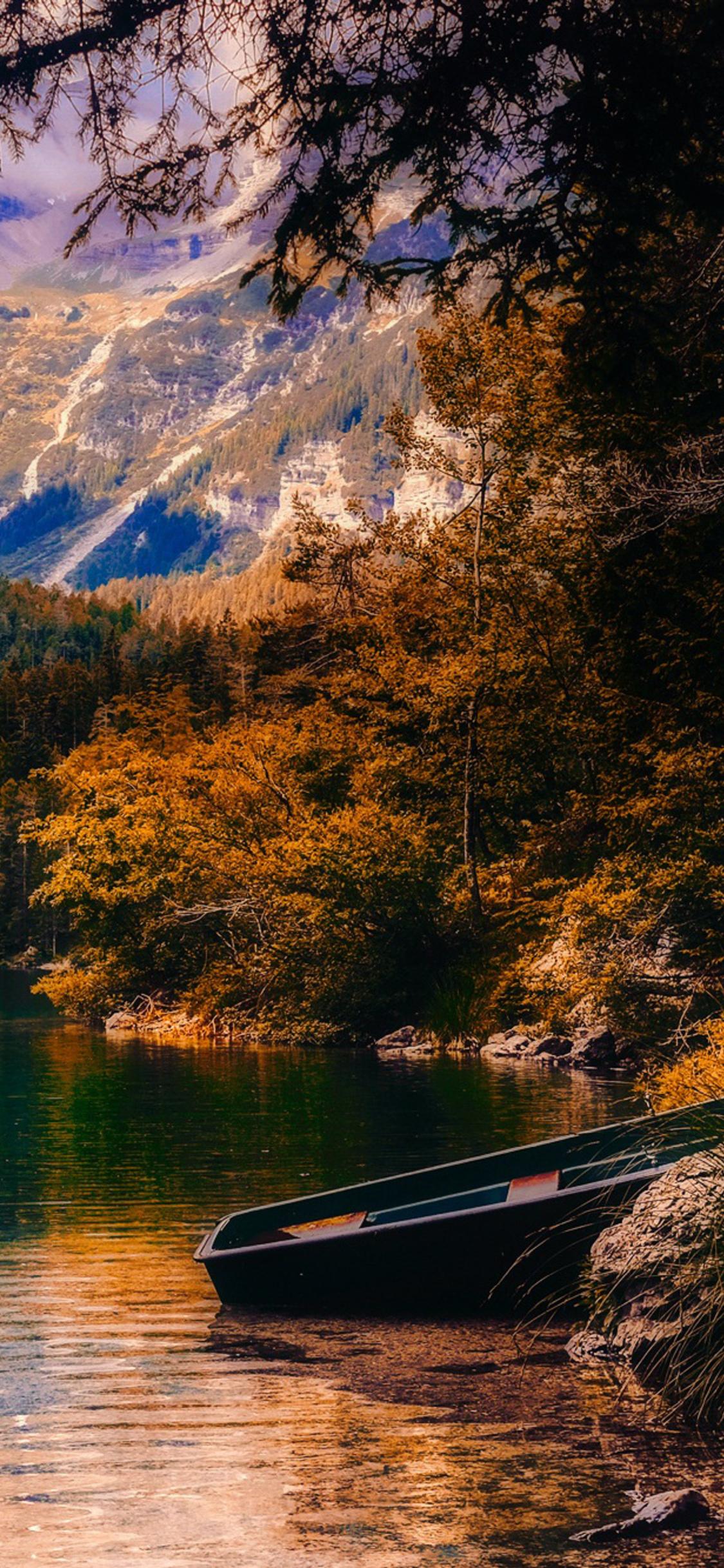 1125x2436 Countryside Beautiful Autumn Season Sunset Boat