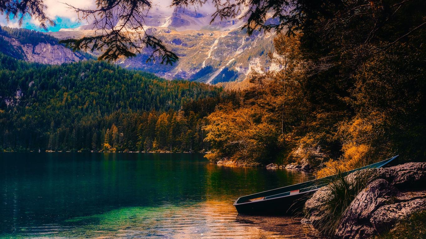1366x768 Countryside Beautiful Autumn Season Sunset Boat