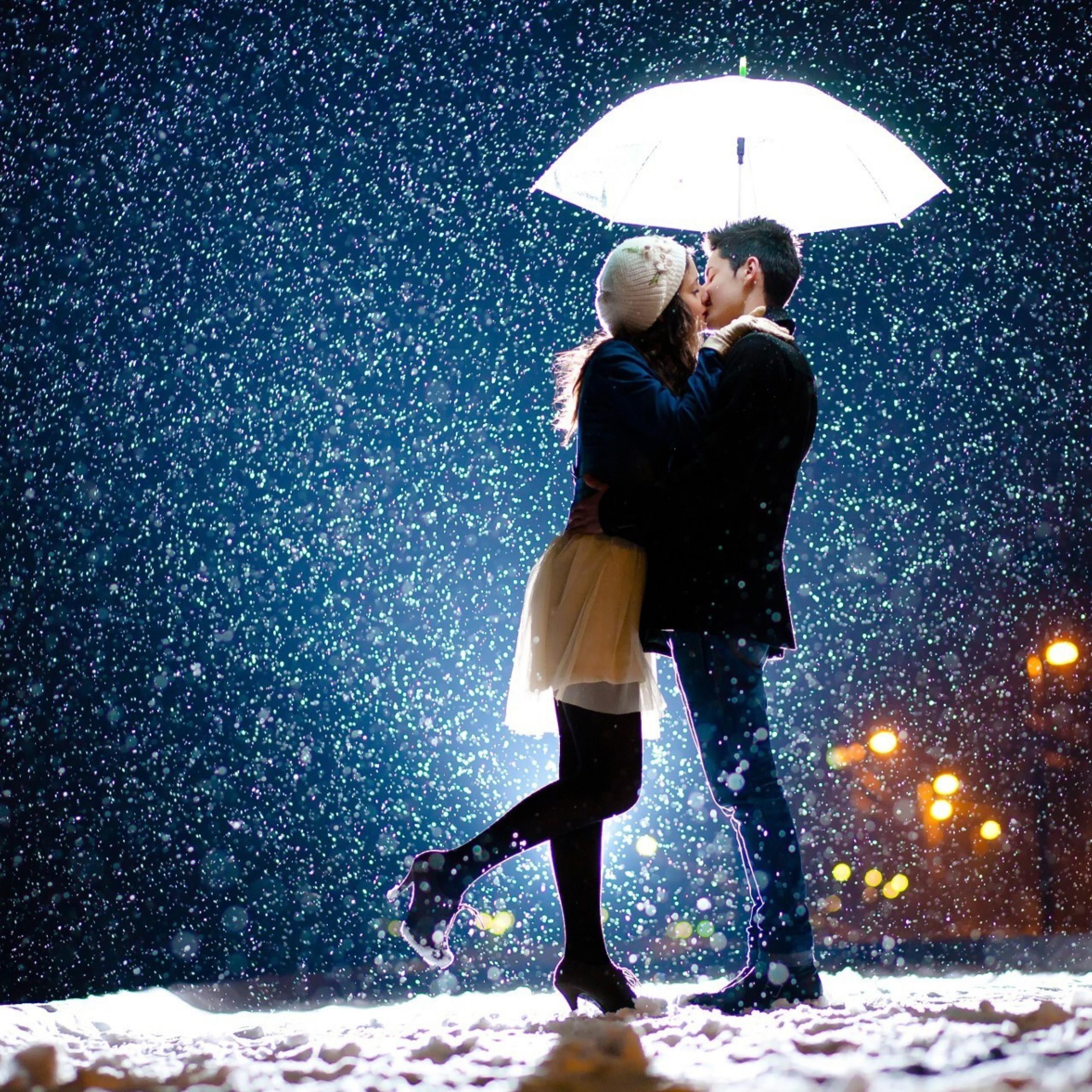 2932x2932 couple kiss in snow ipad pro retina display hd - 4k kiss wallpaper ...