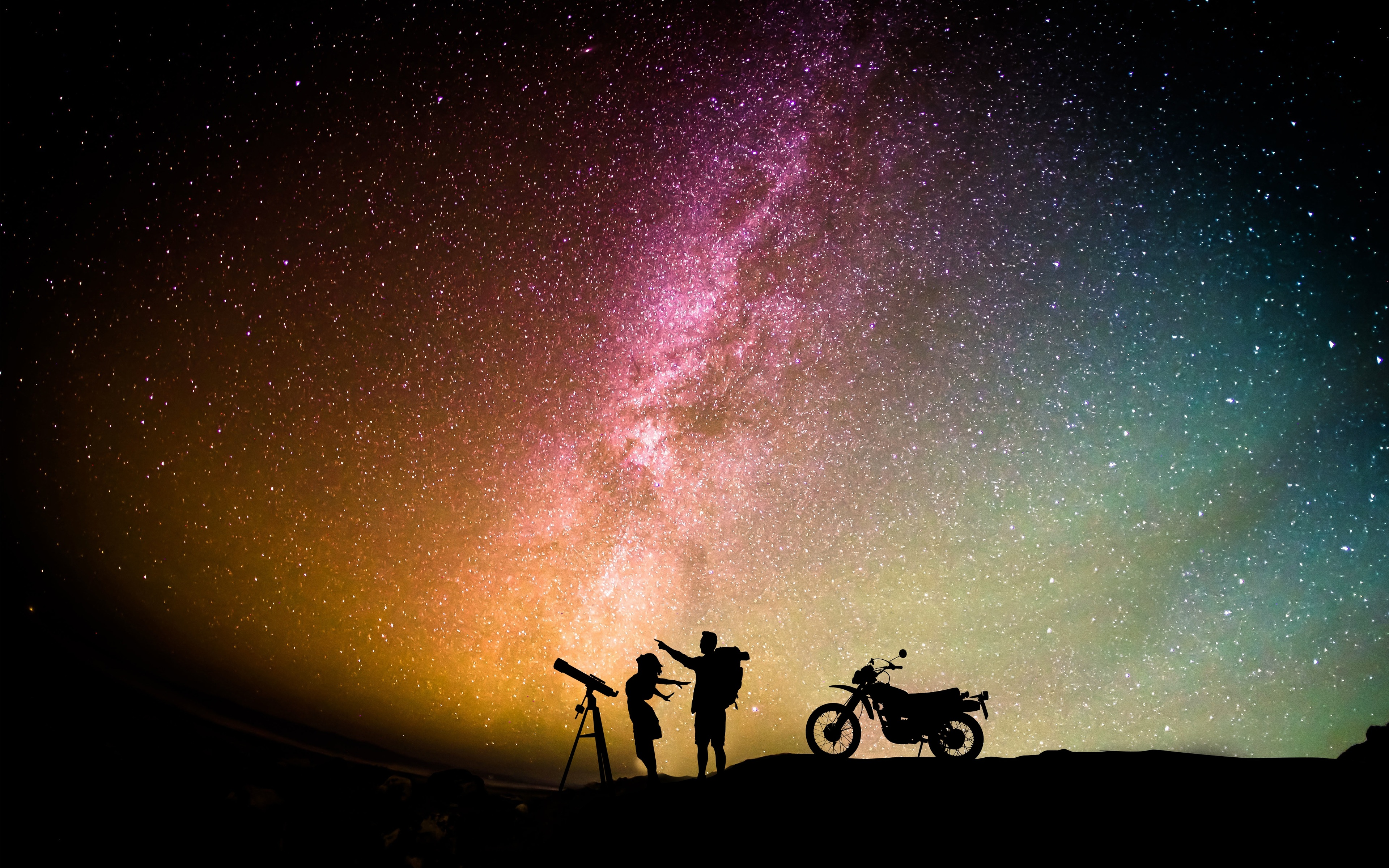 3840x2400 Couple Motorcylist Telescope Aurora Sky 4k Hd 4k Wallpapers Images Backgrounds Photos And Pictures