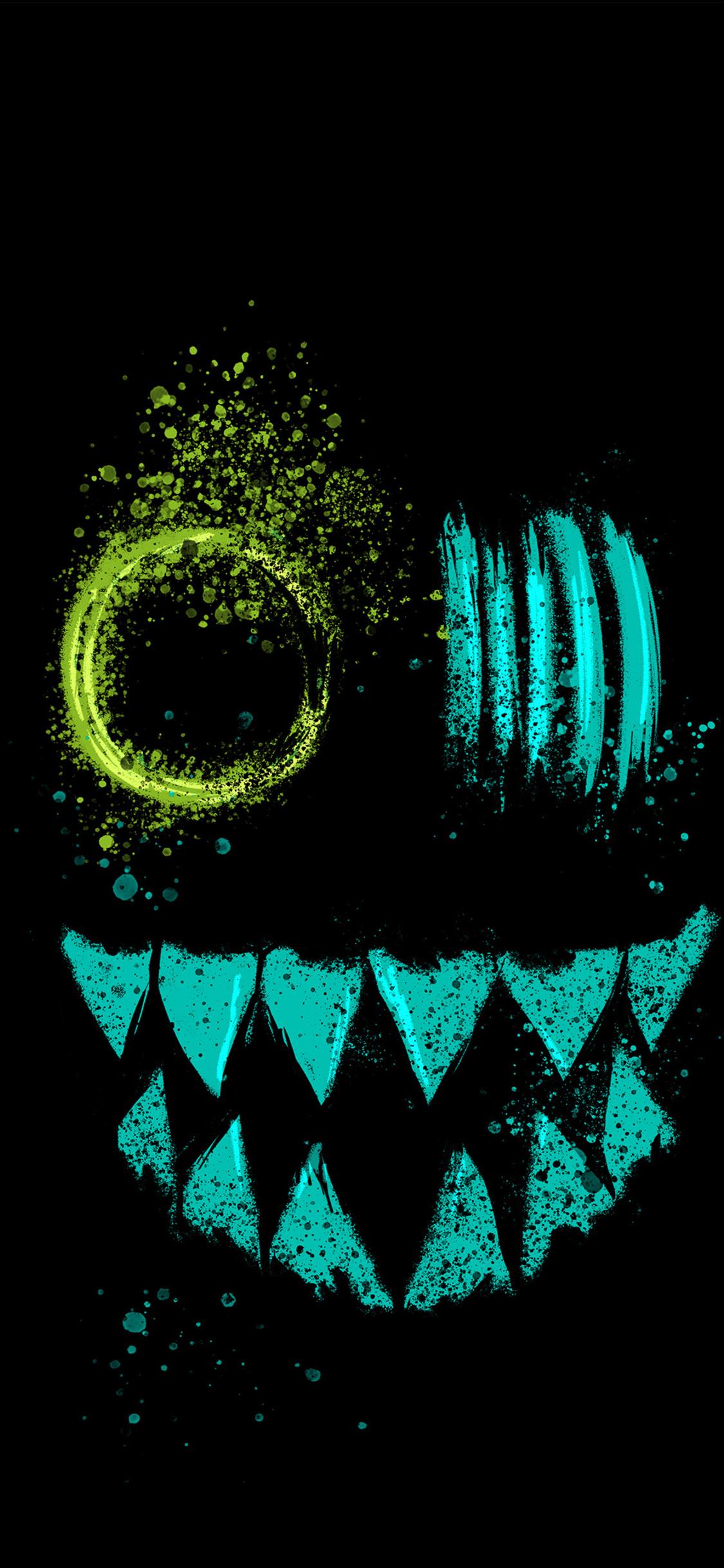 1125x2436 Crazy Neon Eye Teeth Iphone Xsiphone 10iphone X