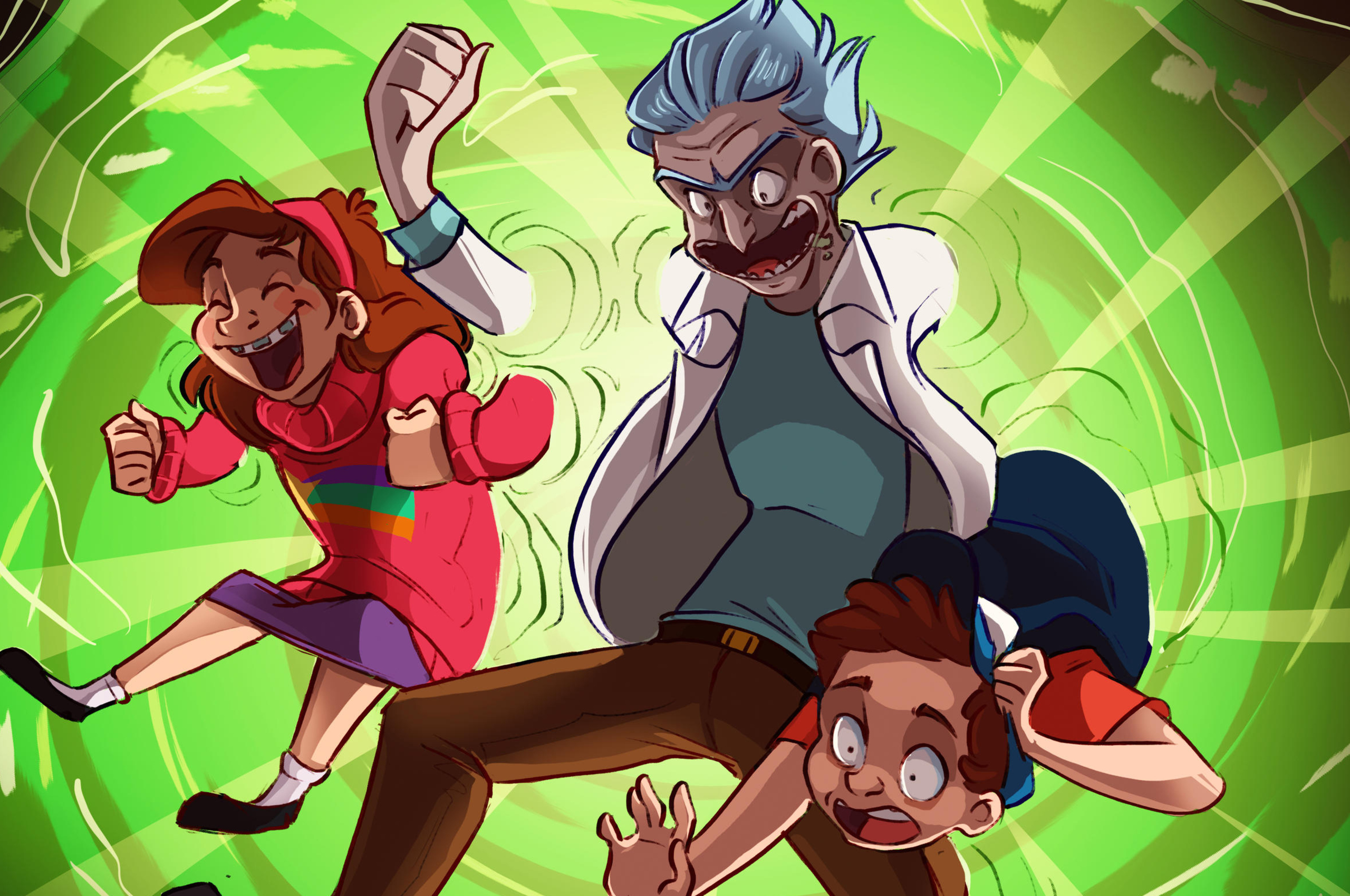 2560x1700 Crossover Rick And Morty Gravity Falls Chromebook