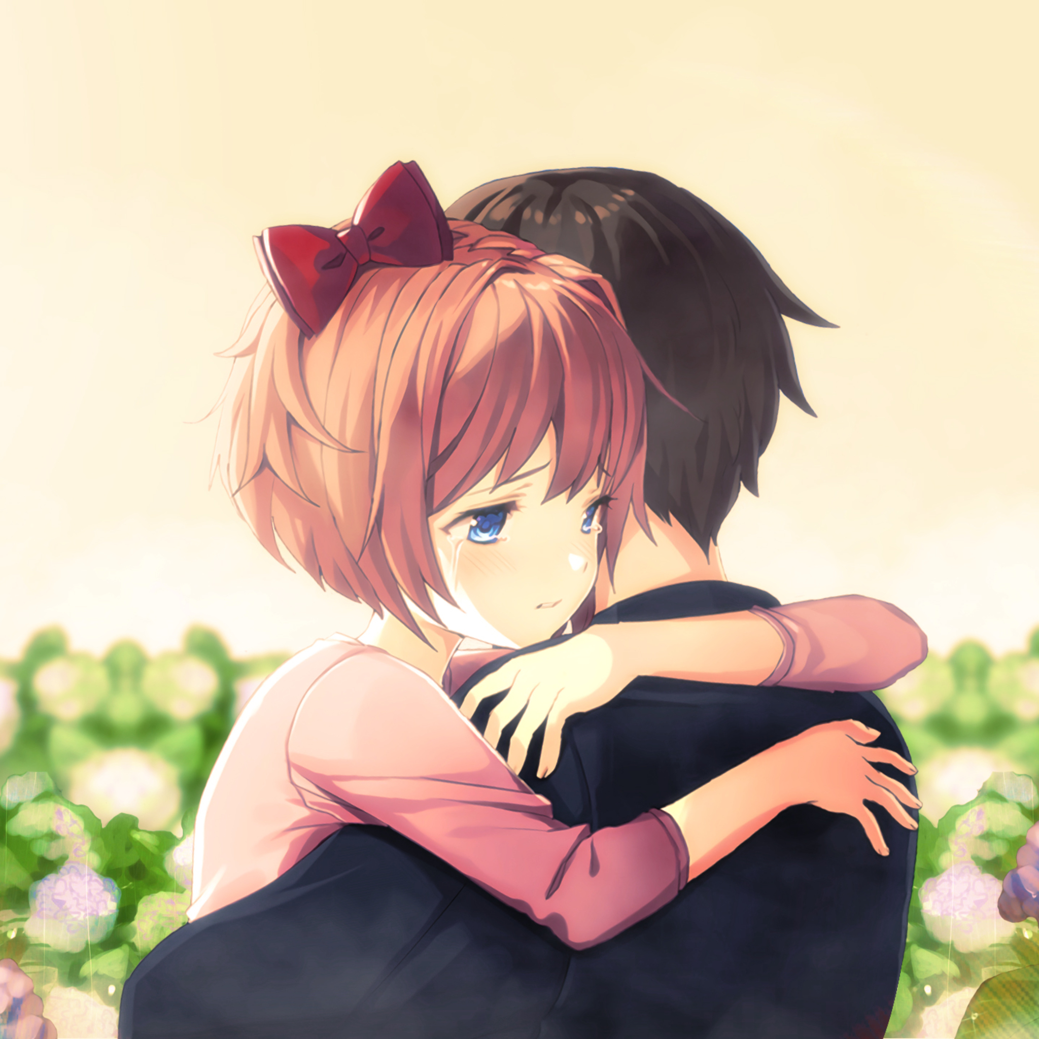 2048x2048 Cute Anime Couple Hug Ipad Air HD 4k Wallpapers ...