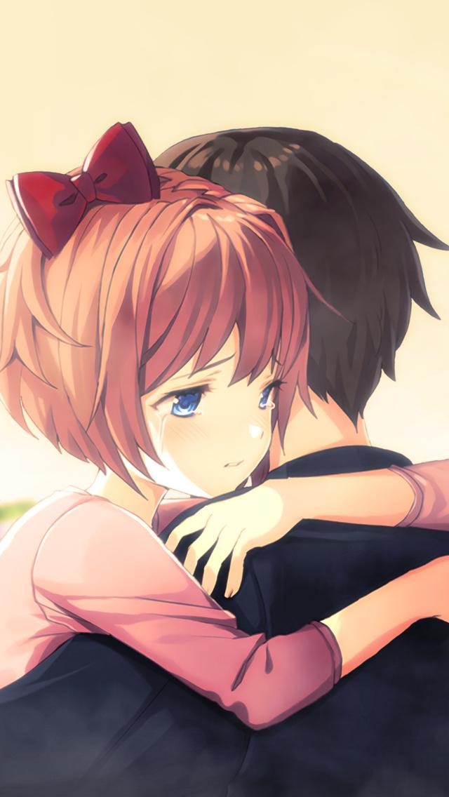 640x1136 Cute Anime Couple Hug Iphone 5 5c 5s Se Ipod Touch
