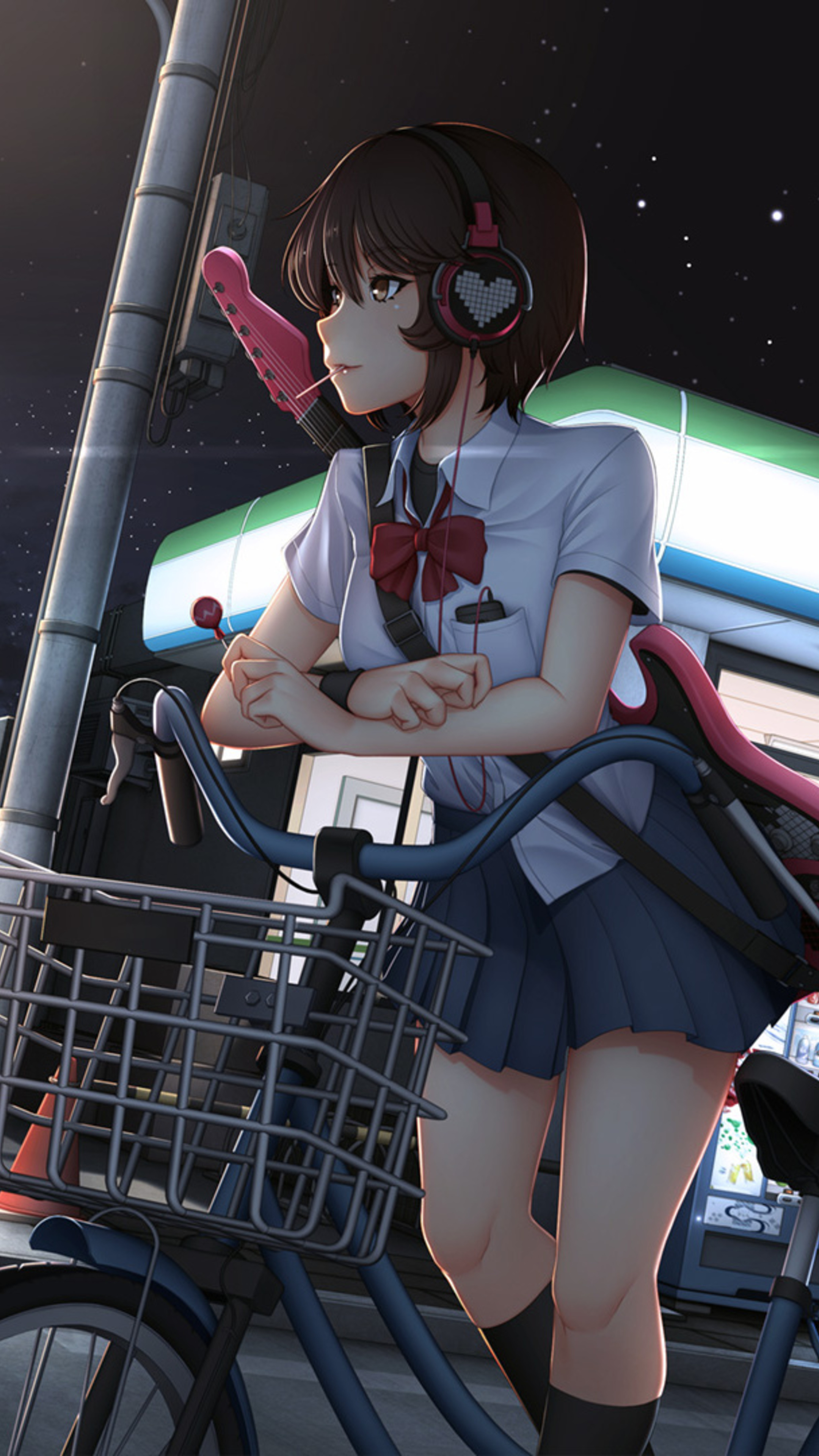 2160x3840 cute anime girl with bicycle listening music on headphones