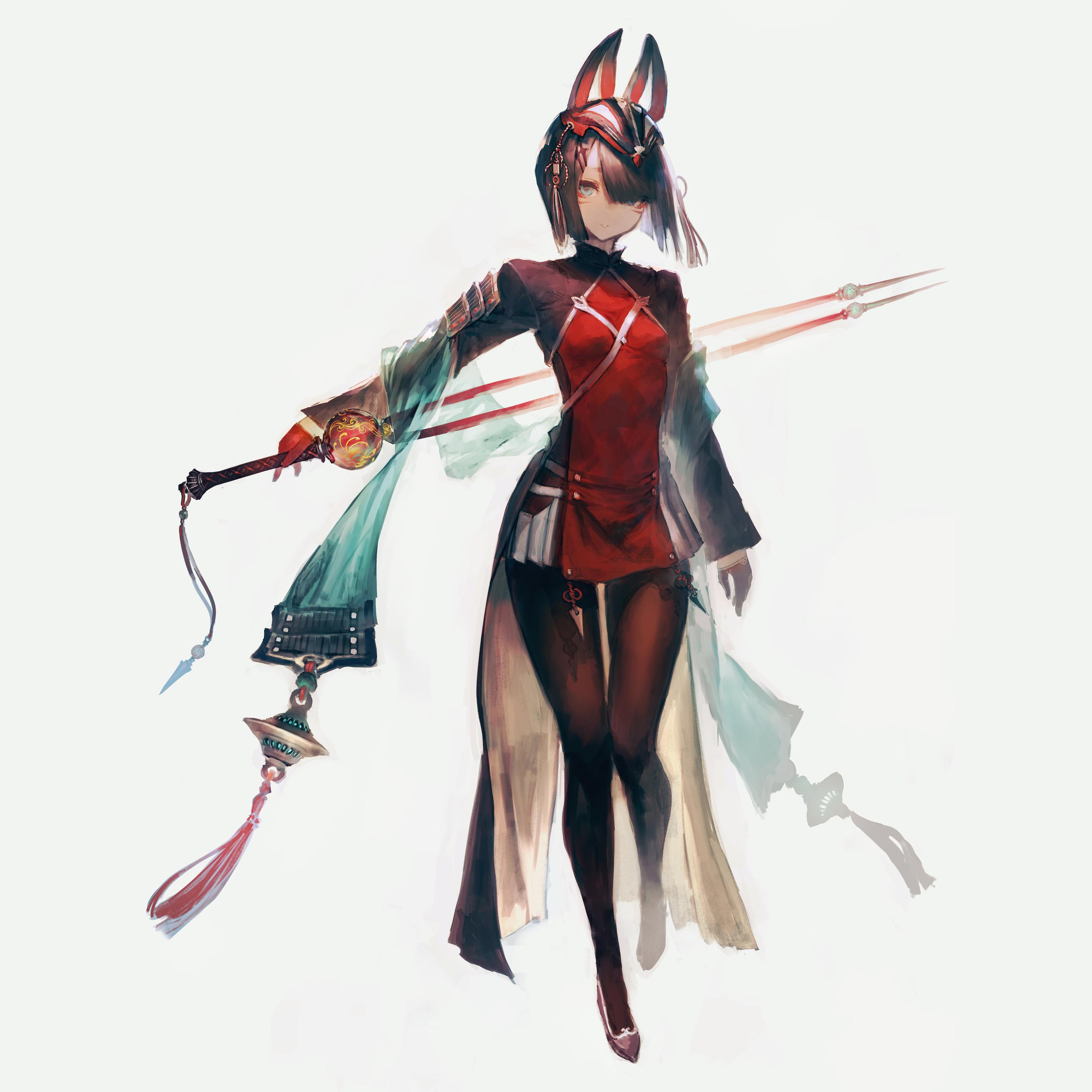 2932x2932 Cute Anime Girl With Sword Ipad Pro Retina ...