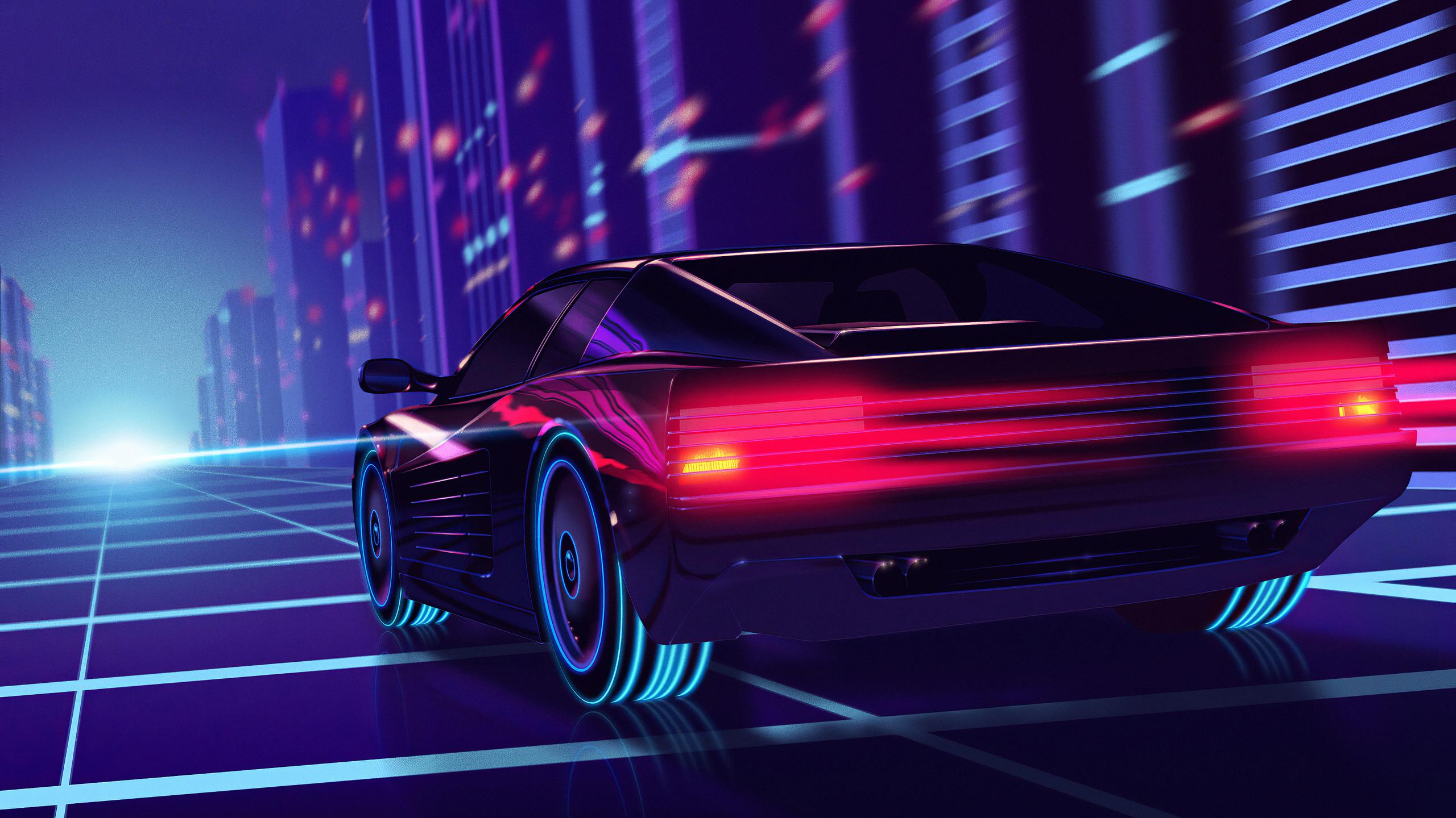 2560x1440 Cyber Car Neon City 1440P Resolution HD 4k ...