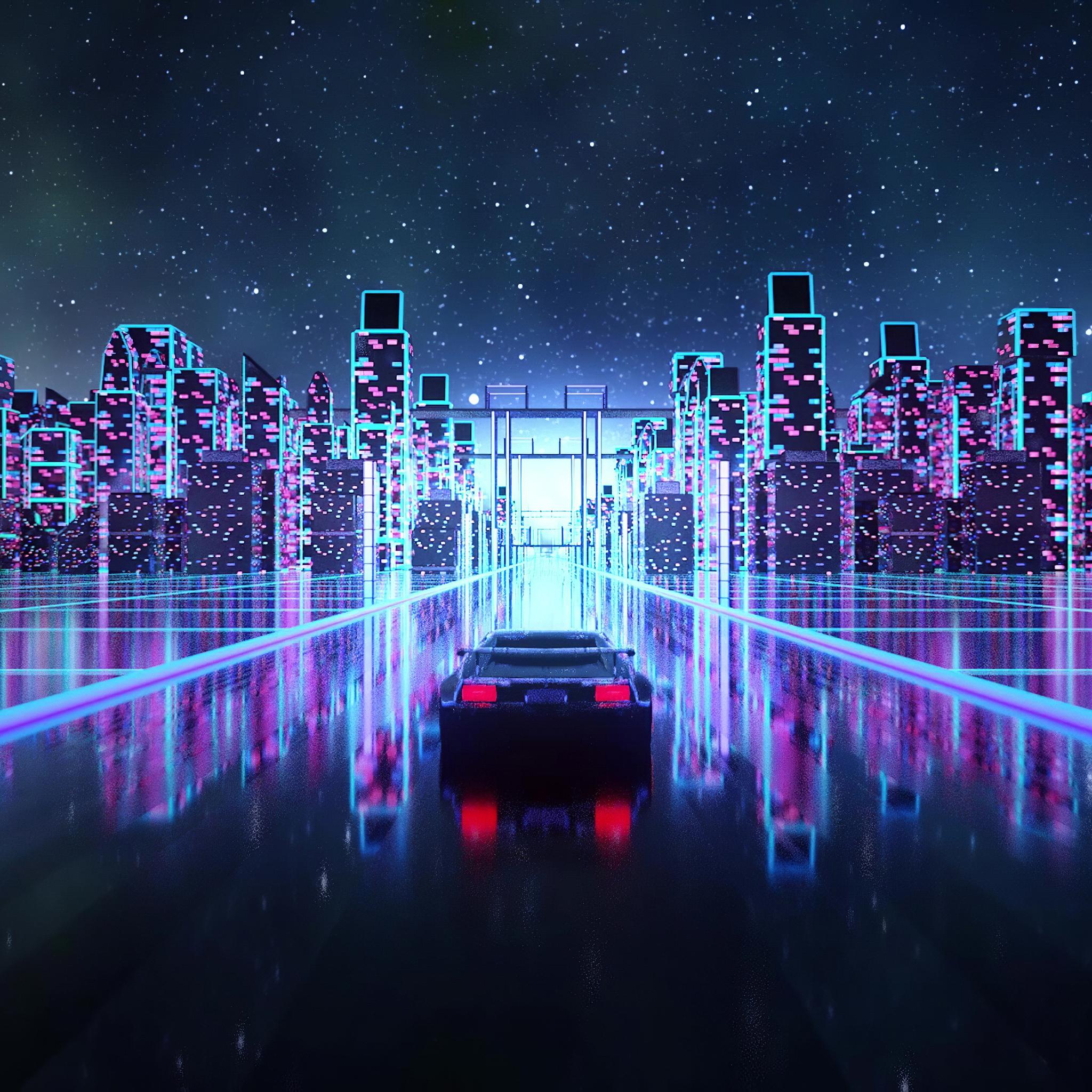 2048x2048 Cyber Outrun Vaporwave Synth Retro Car 4k Ipad ...