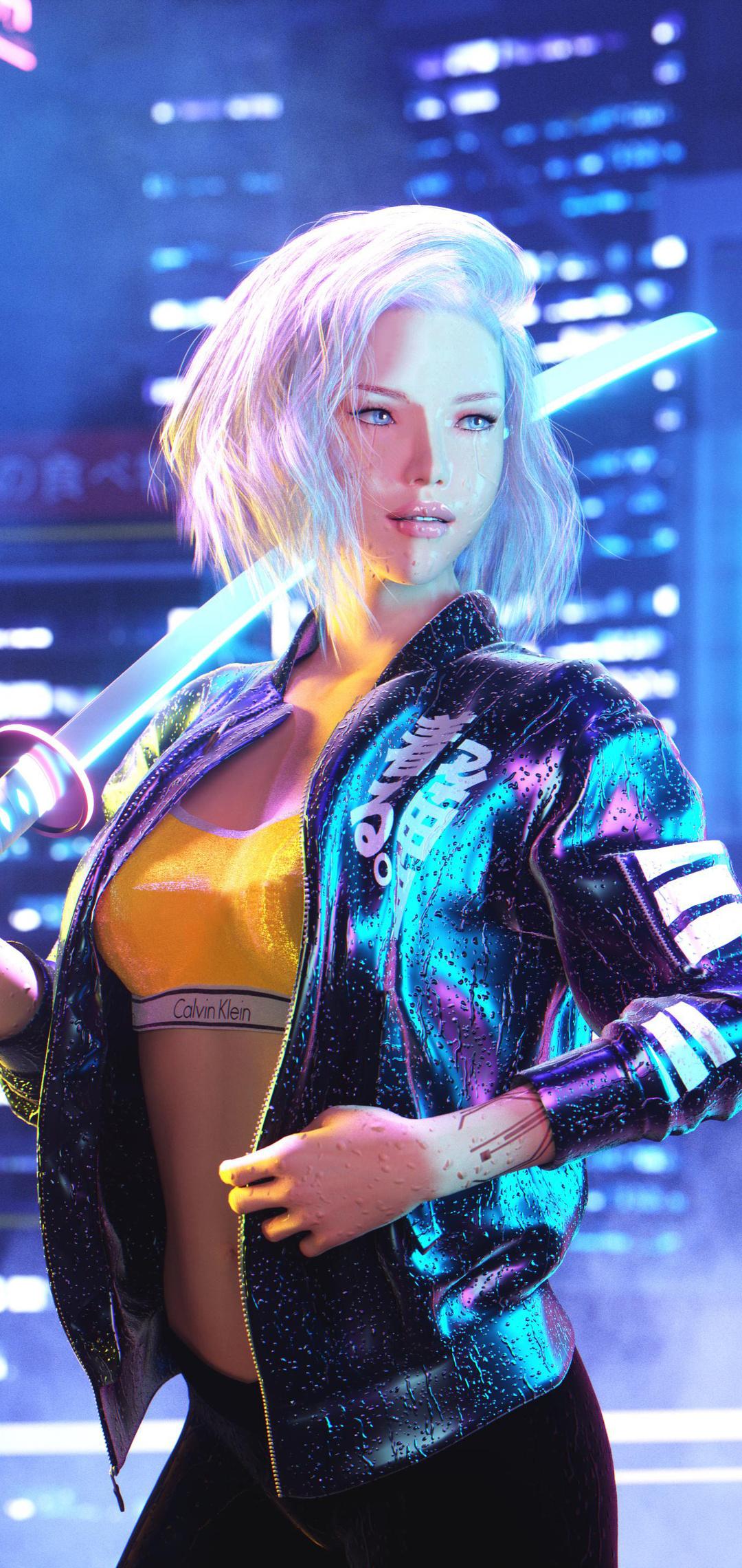 1080x2280 Cyberpunk 2077 Girl 4k 2020 One Plus 6,Huawei ...