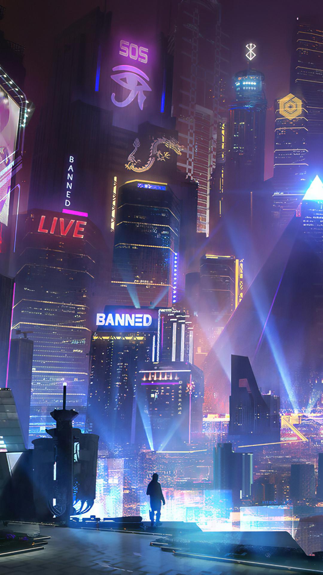1080x1920 Cyberpunk City 4k Iphone 7,6s,6 Plus, Pixel xl ...