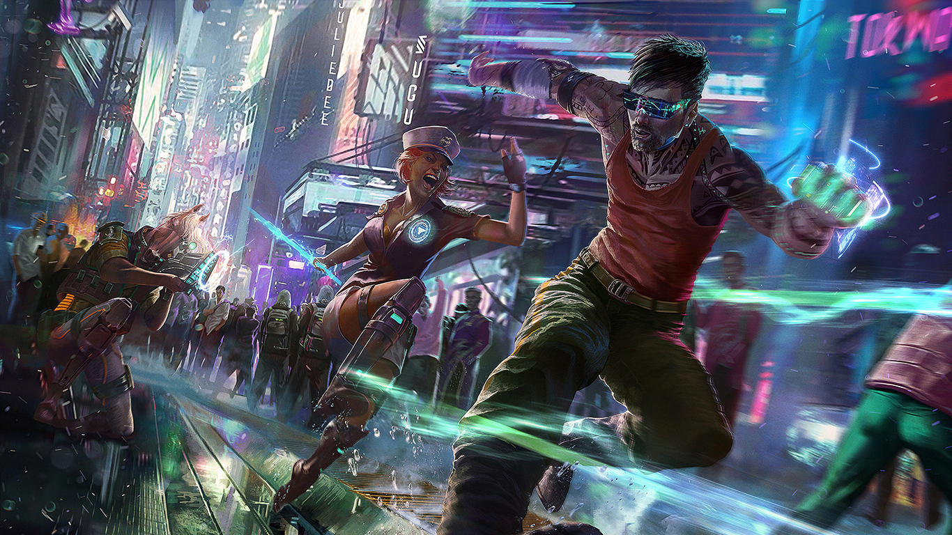 cyberpunk girl and boy running uh