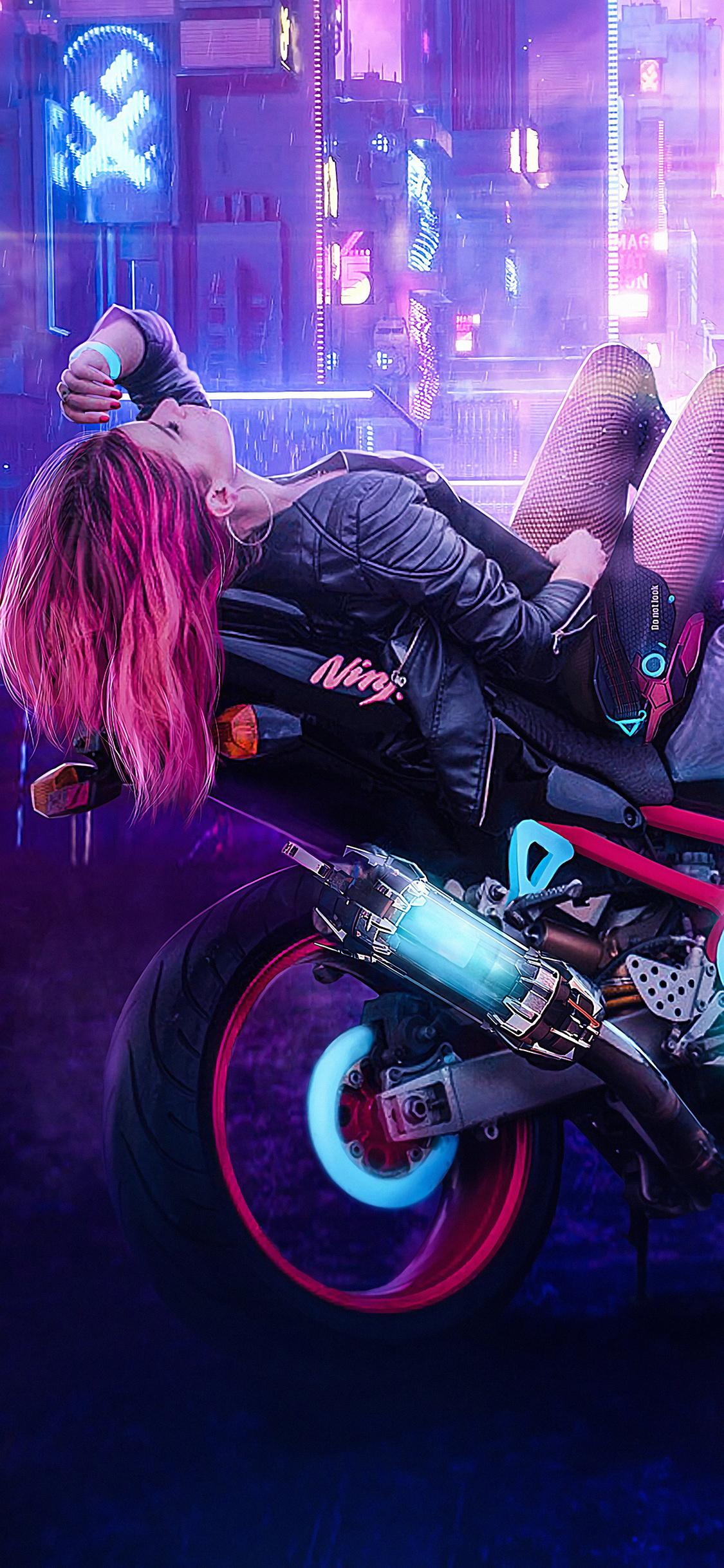 21x21 Cyberpunk Girl On Bike Iphone XS,Iphone 21,Iphone X HD ...