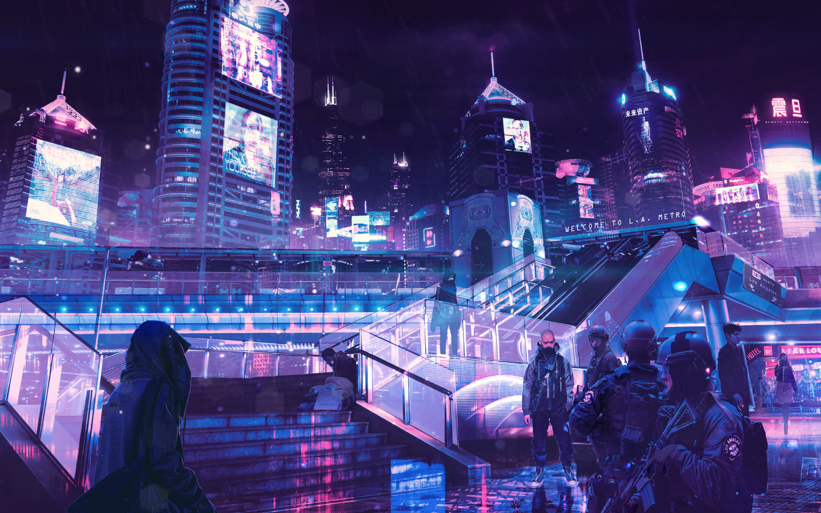 2880x1800 cyberpunk neon city macbook pro retina hd 4k wallpapers