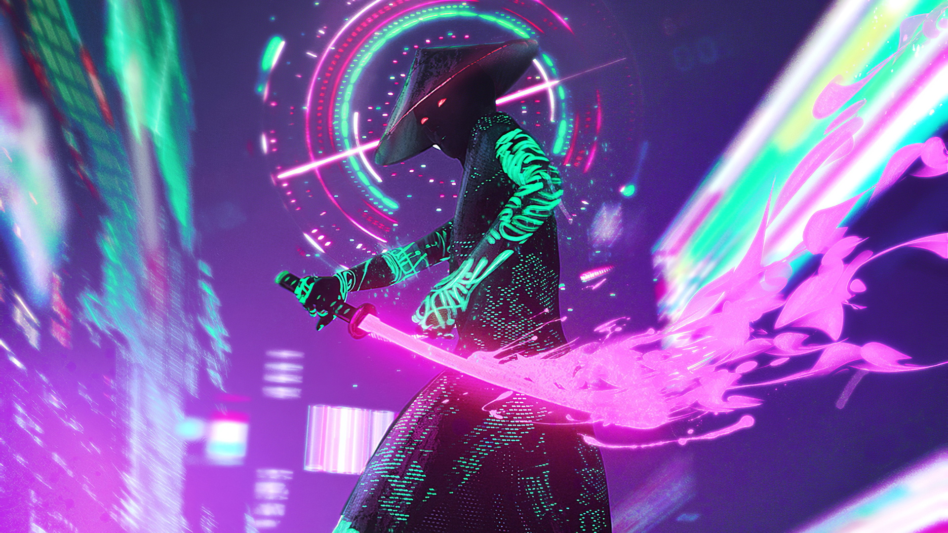 1920x1080 Cyberpunk Neon With Sword 4k Laptop Full HD ...
