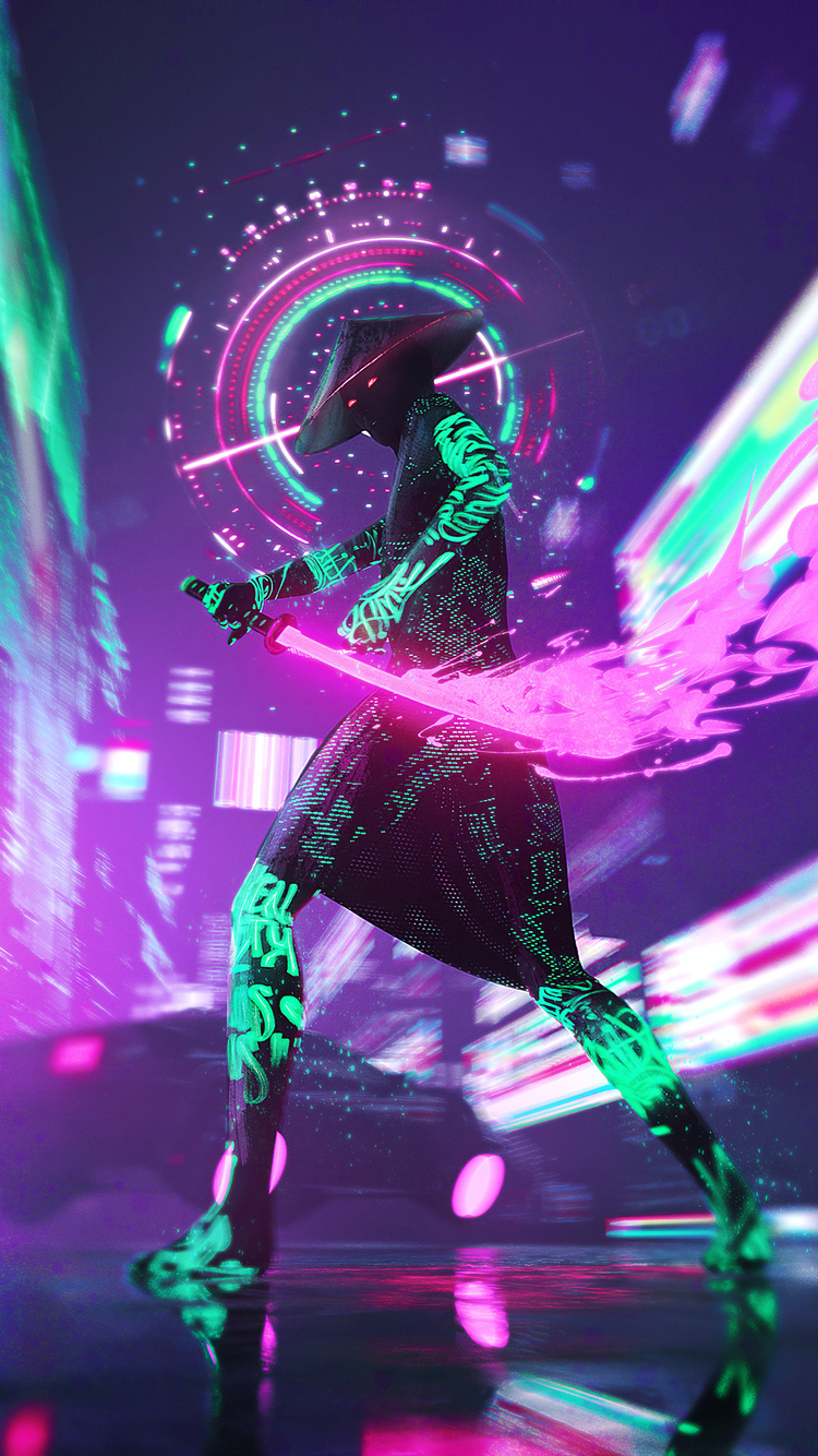 750x1334 Cyberpunk Neon With Sword 4k Iphone 6 Iphone 6s Iphone 7 Hd 4k Wallpapers Images Backgrounds Photos And Pictures