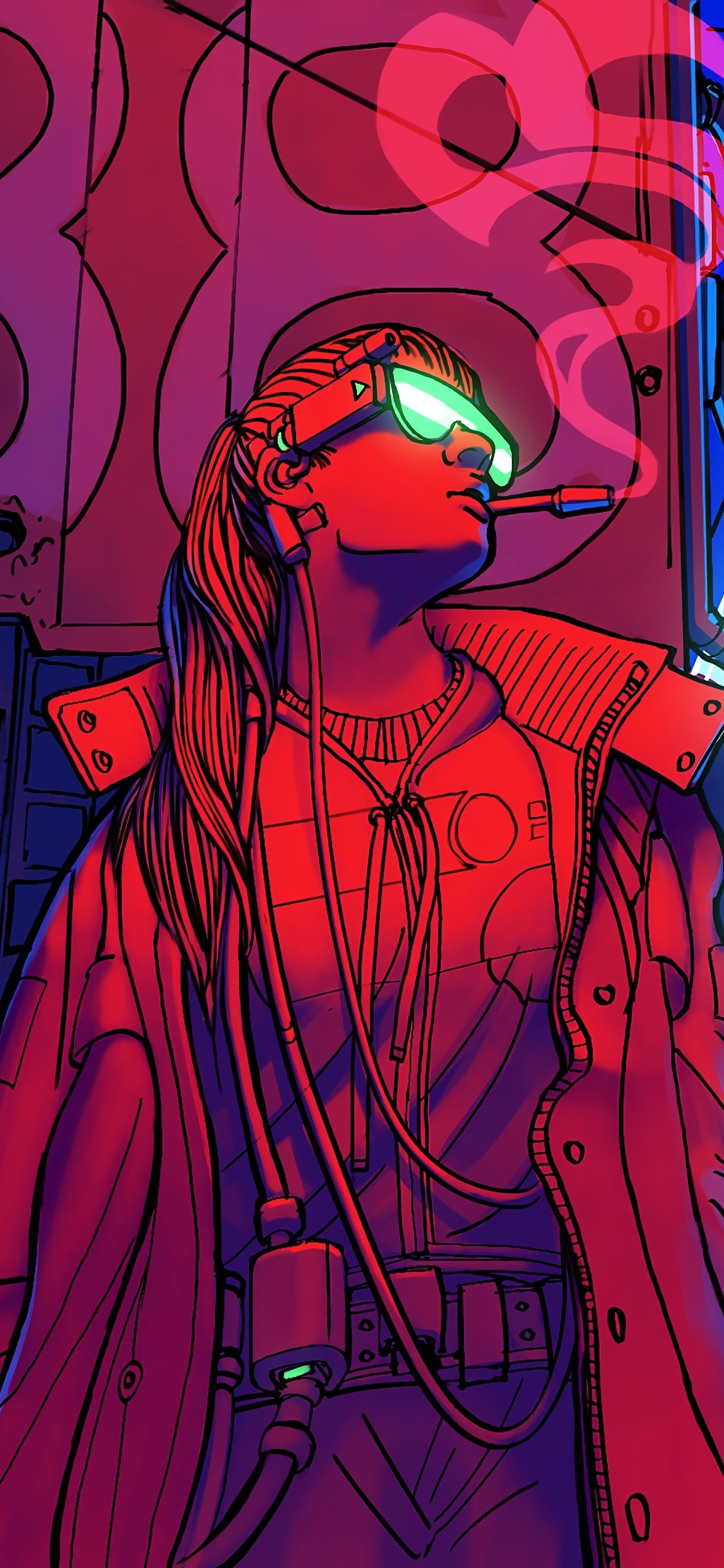 1125x2436 Cyberpunk Smoking Girl 4k Iphone Xs Iphone 10