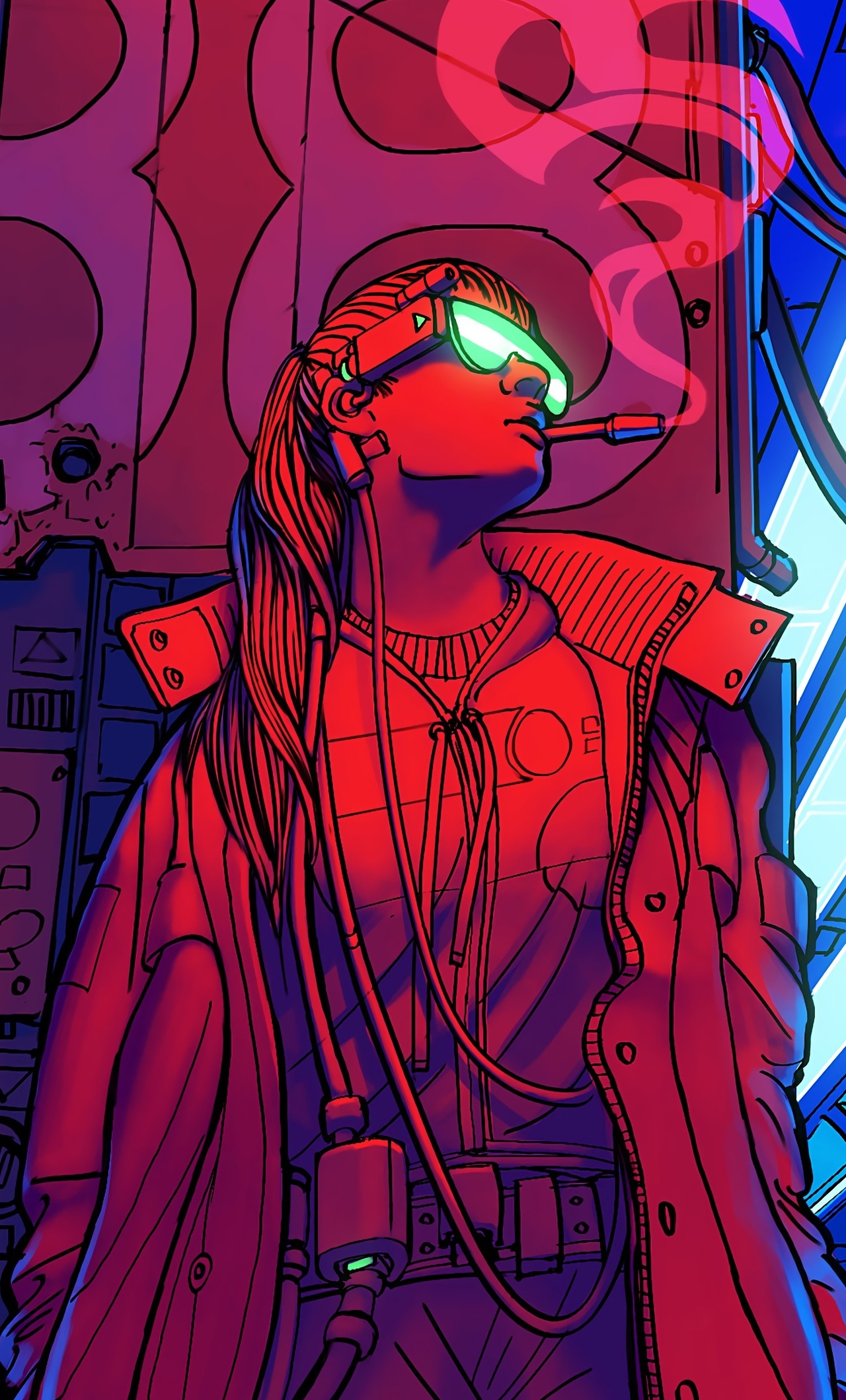 1280x2120 Cyberpunk Smoking Girl 4k Iphone 6 Hd 4k Wallpapers Images Backgrounds Photos And Pictures