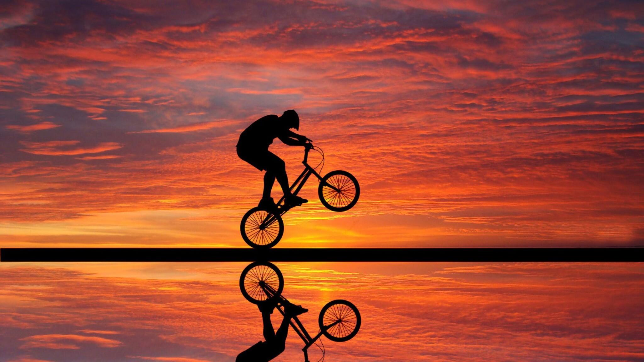 2048x1152 Cycling Sunset 2048x1152 Resolution Hd 4k