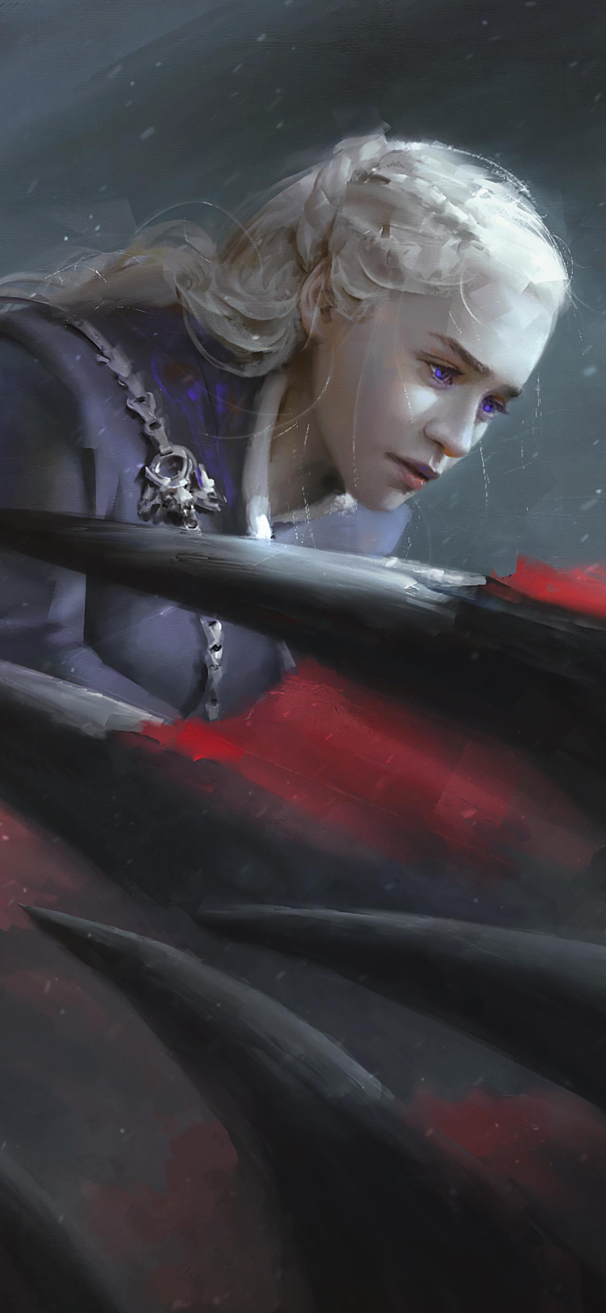 1242x2688 Daenerys Targaryen Game Of Thrones Dragon Artwork