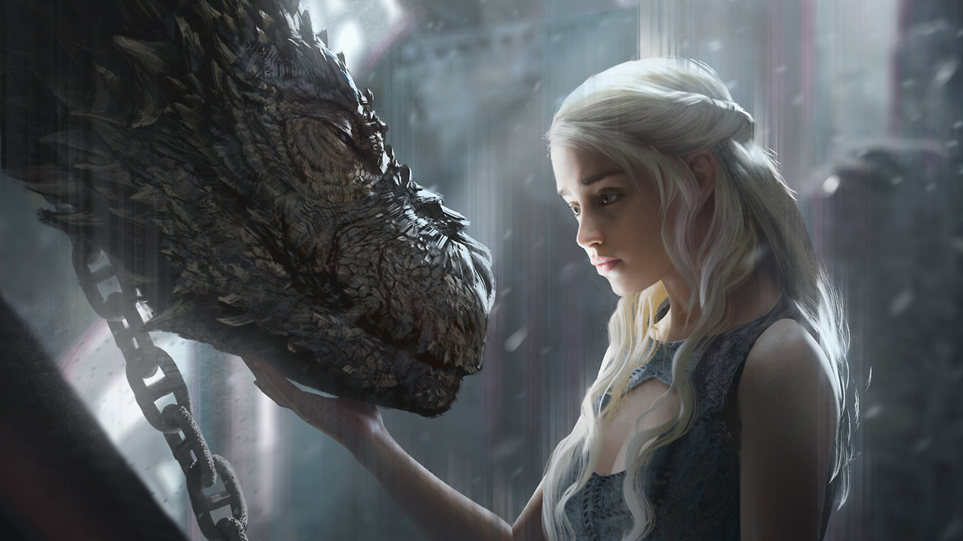 1920x1080 Daenerys Targaryen With Dragon Artwork Laptop Full Hd