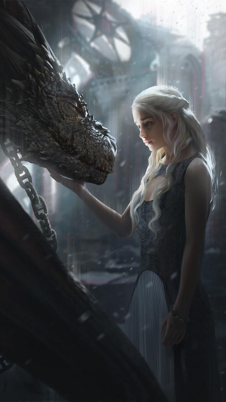 720x1280 Daenerys Targaryen With Dragon Artwork Moto Gx Xperia Z1