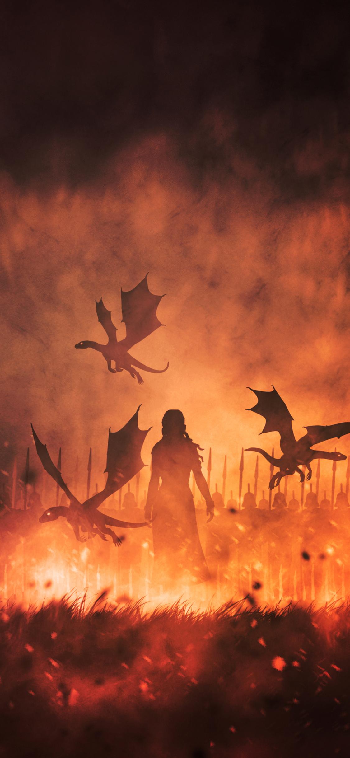 1125x2436 Daenerys Targaryen With Dragons Illustration