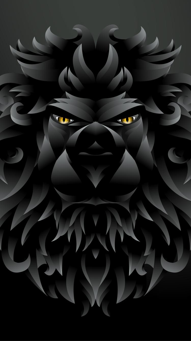 750x1334 Dark Black Lion Illustration Iphone 6 Iphone 6s