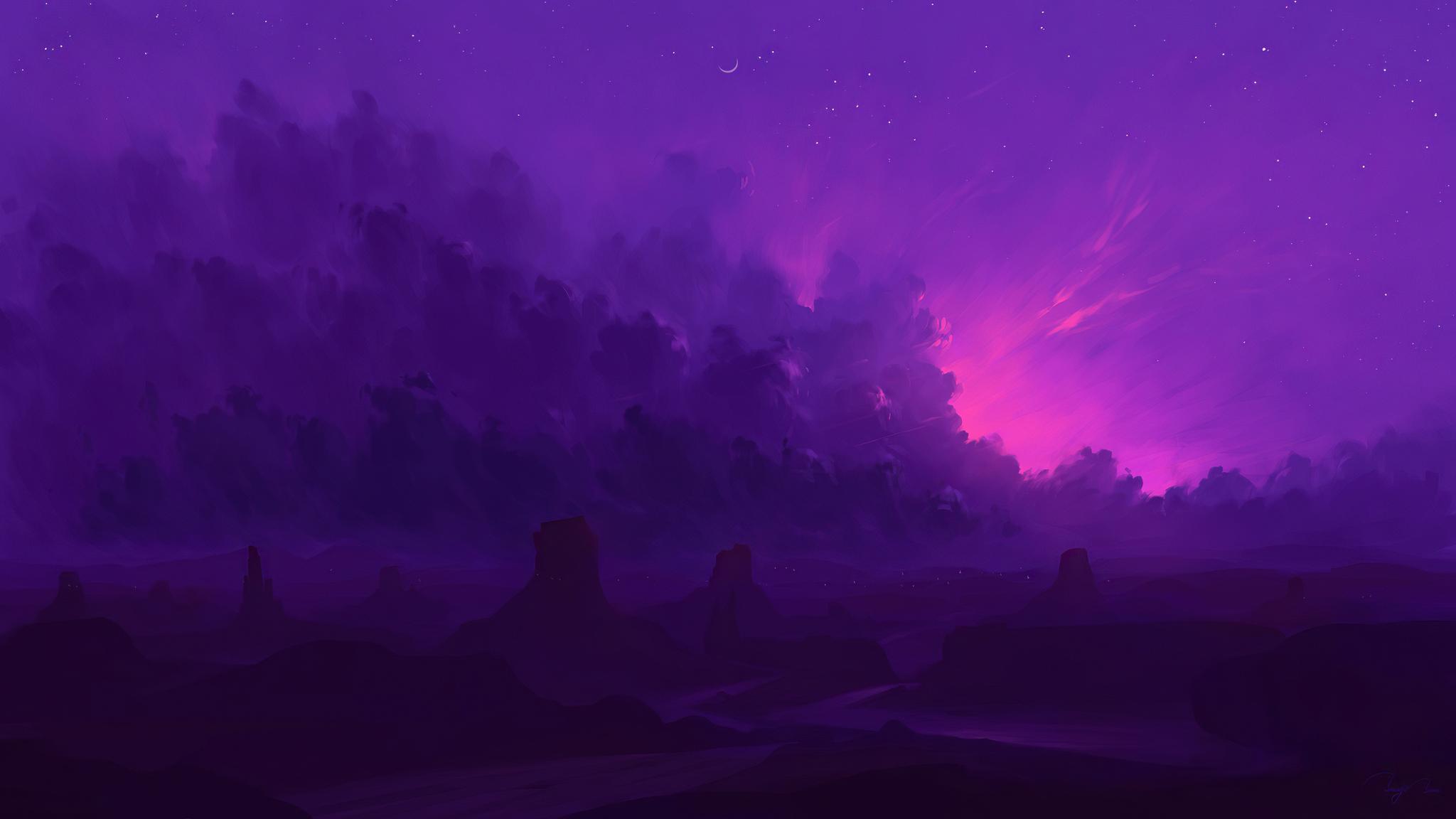 dark-evening-light-pink-road-stars-4k-60.jpg