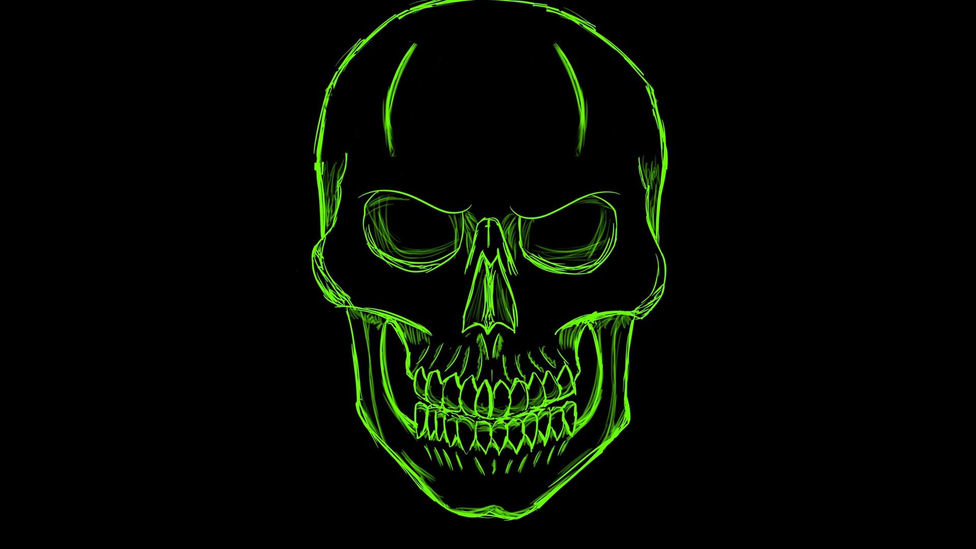1920x1080 Dark Green Skull Minimalism Art Laptop Full HD ...