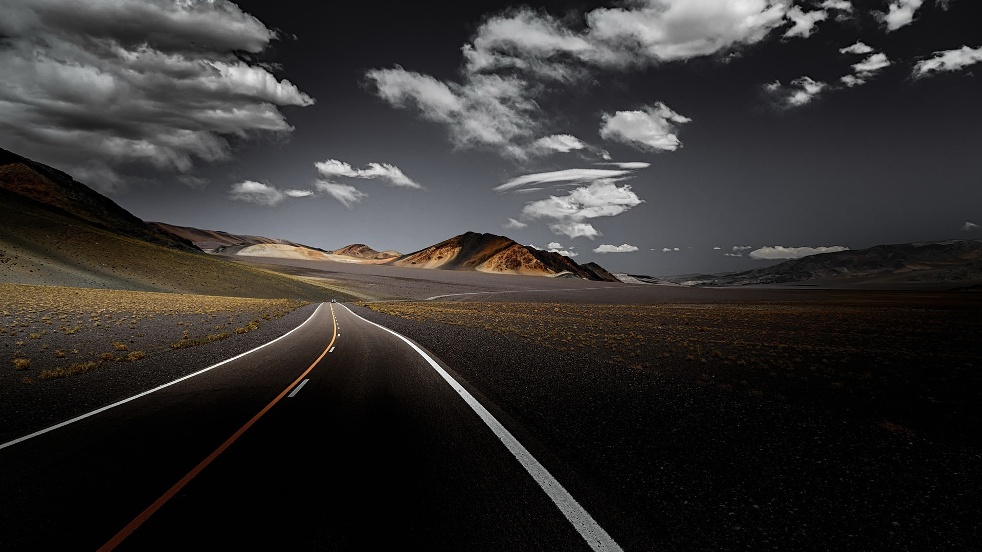 1920x1080 Dark Road Clouds Over Landscape View Front ...