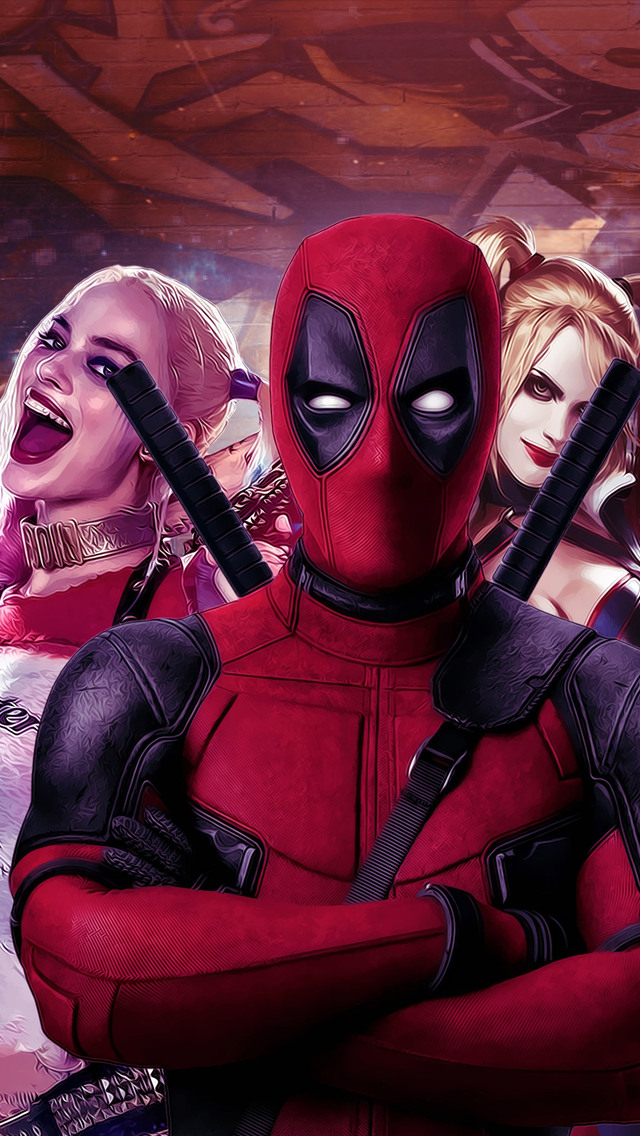 640x1136 Deadpool And Harley Quinn Iphone 5 5c 5s Se Ipod Touch Hd
