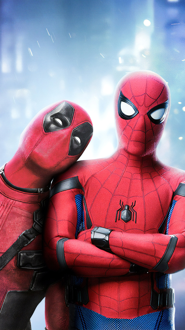 750x1334 Deadpool And Spiderman Art Iphone 6 Iphone 6s