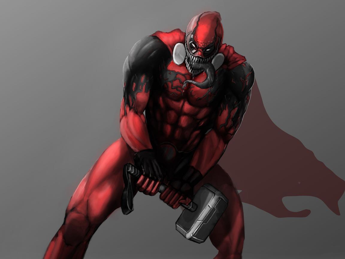 1152x864 Deadpool As Venom With Thor Helmet 1152x864 ...
